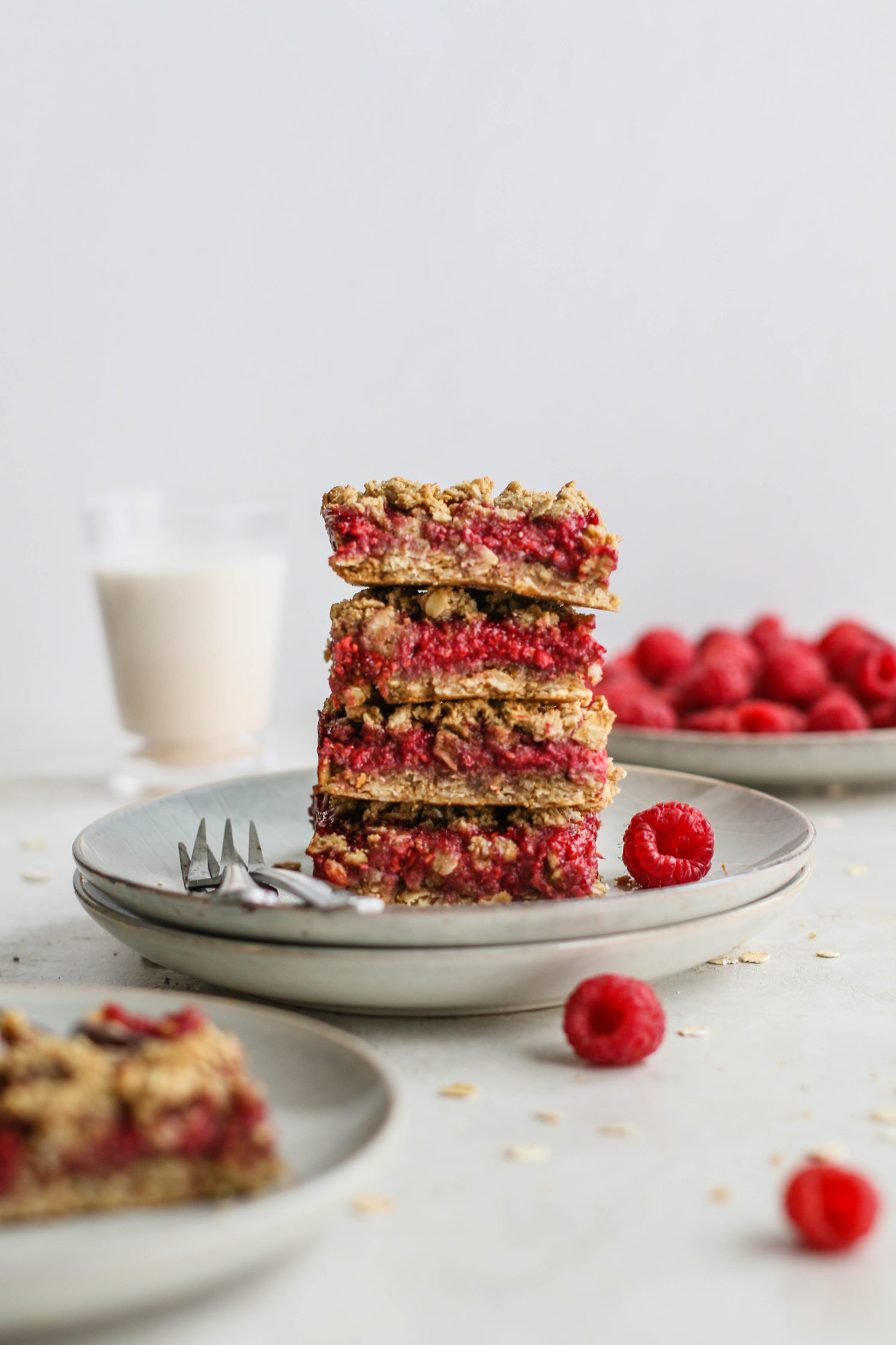 Raspberry Oat Crumble Bars by Flora & Vino