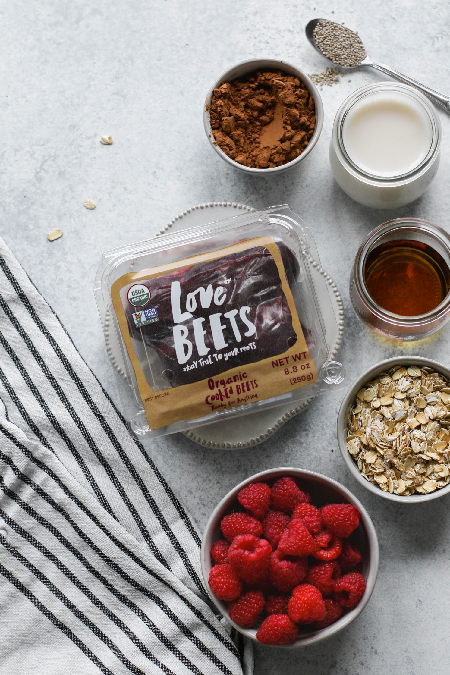 Red Velvet Overnight Oats with Raspberry Beet Purée by Flora & Vino