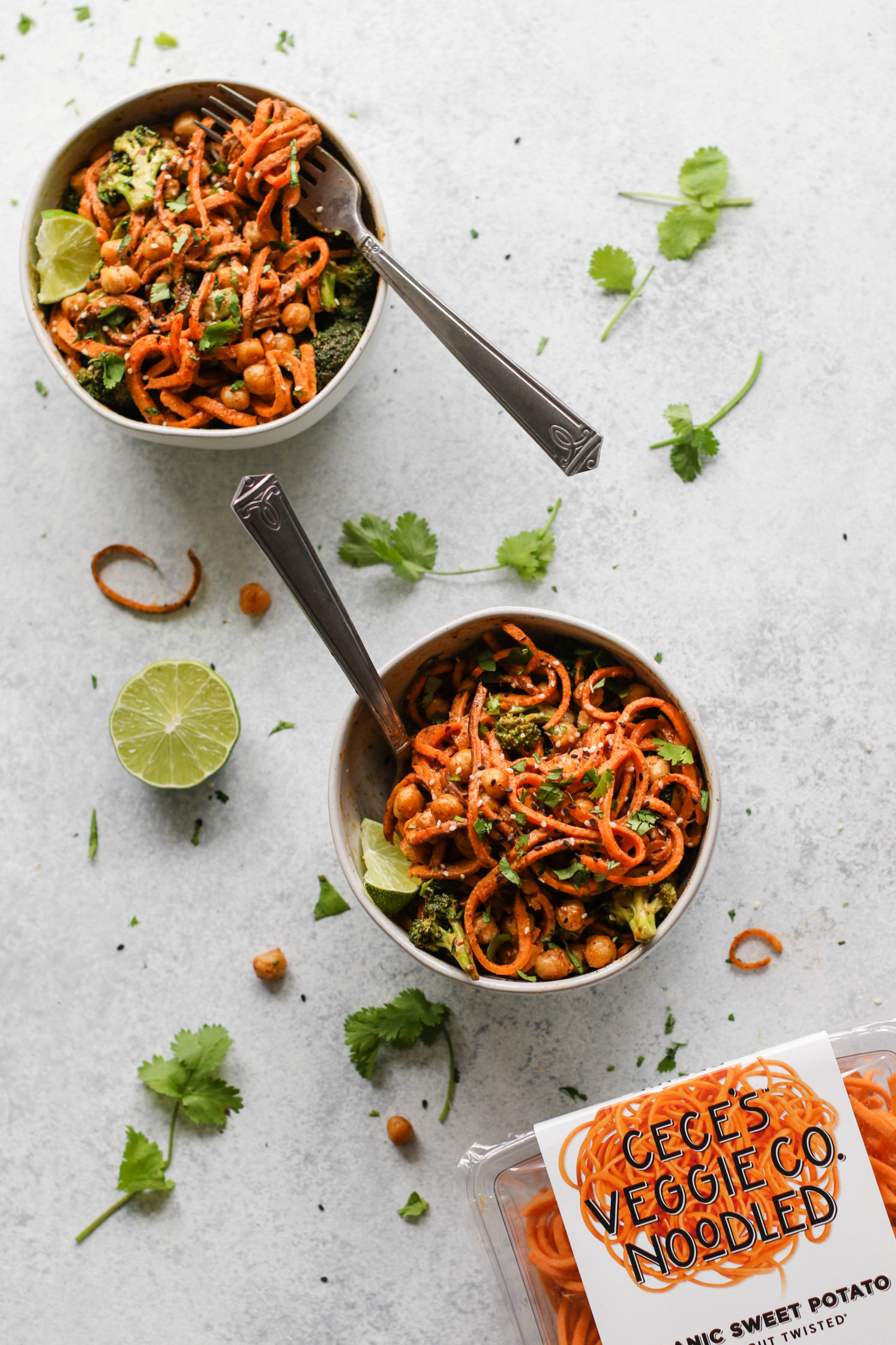Spicy Almond Butter Sweet Potato Noodle Bowls by Flora & Vino