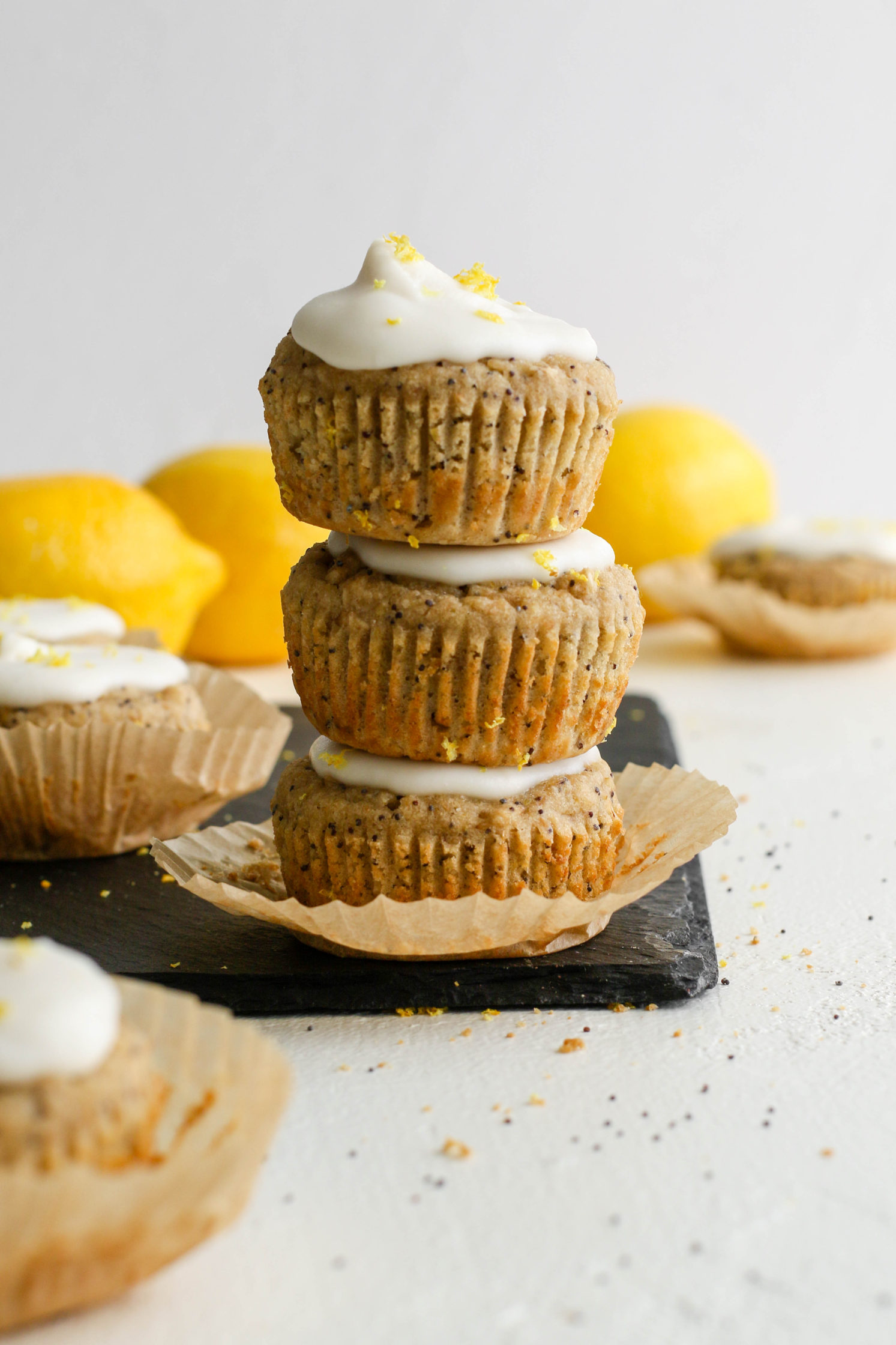Lemon Poppyseed Muffins with Coconut Butter Glaze