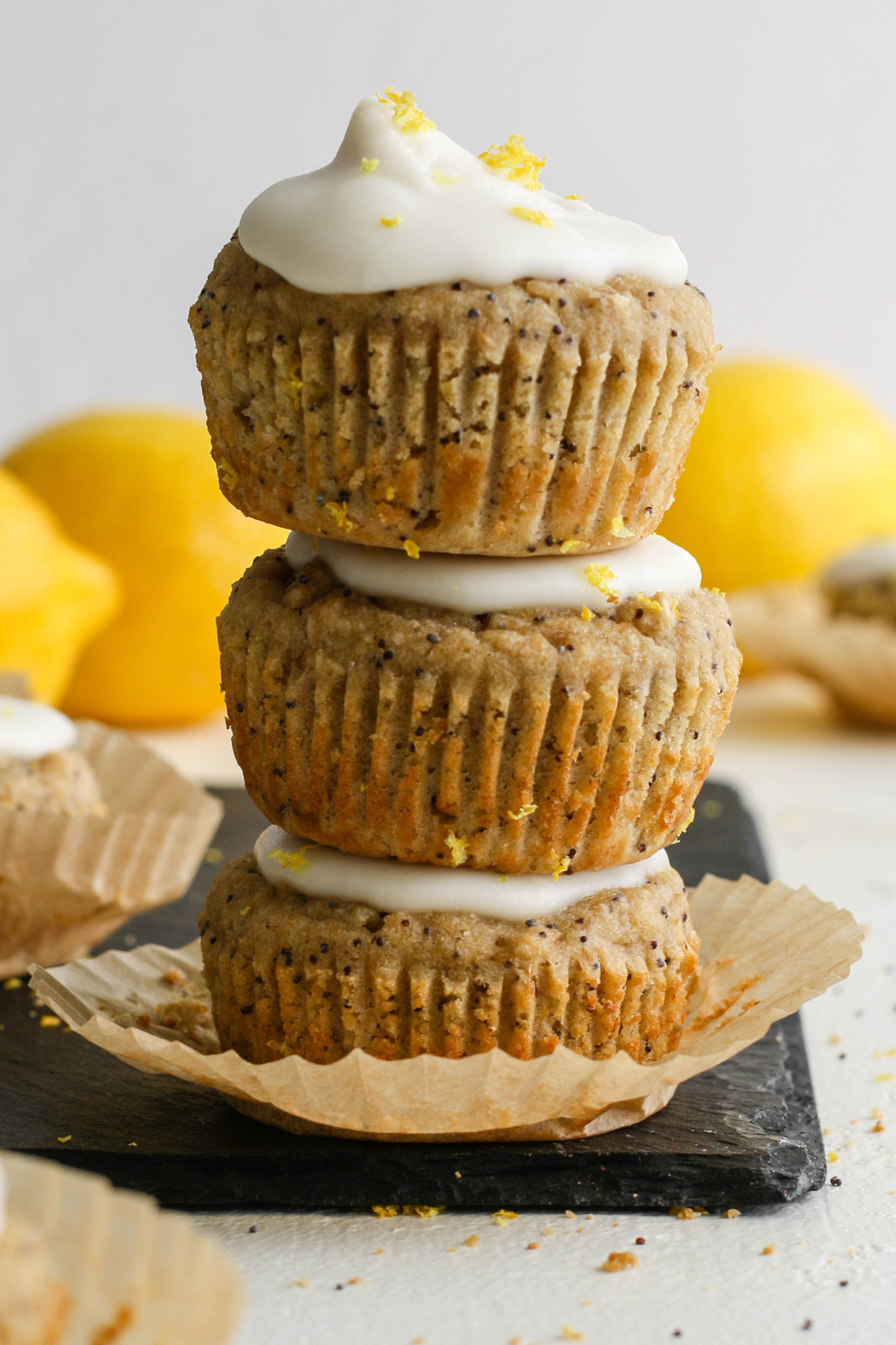 Lemon Poppyseed Muffins with Coconut Butter Glaze by Flora & Vino
