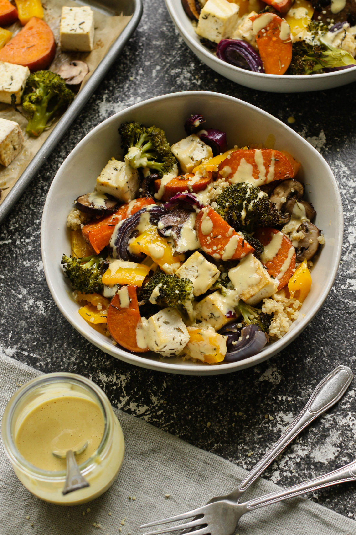 "Tofu Sheet Pan Meal with ""Cheezy"" Miso Tahini Sauce by Flora & Vino"