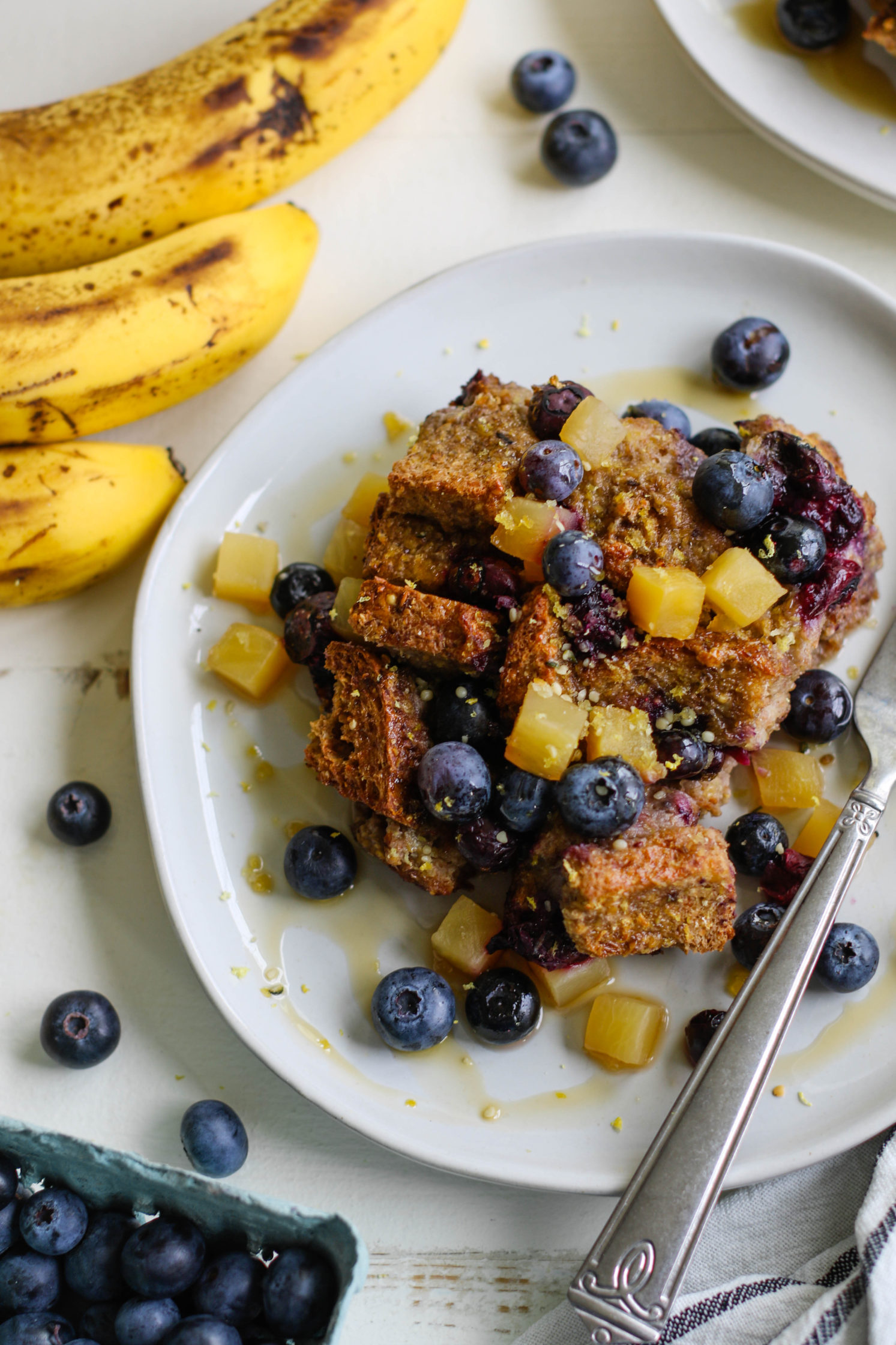 Banana Blueberry French Toast Casserole by Flora & Vino