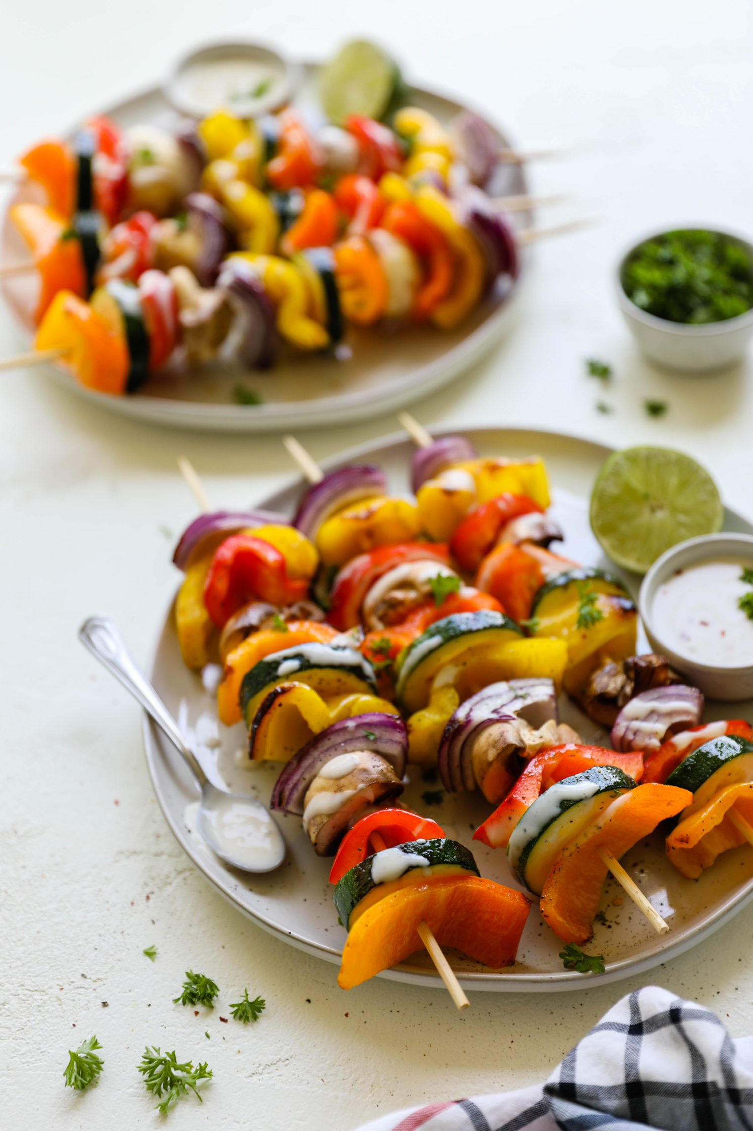 Vegetable Kabobs with Spicy Lime Yogurt by Flora & Vino