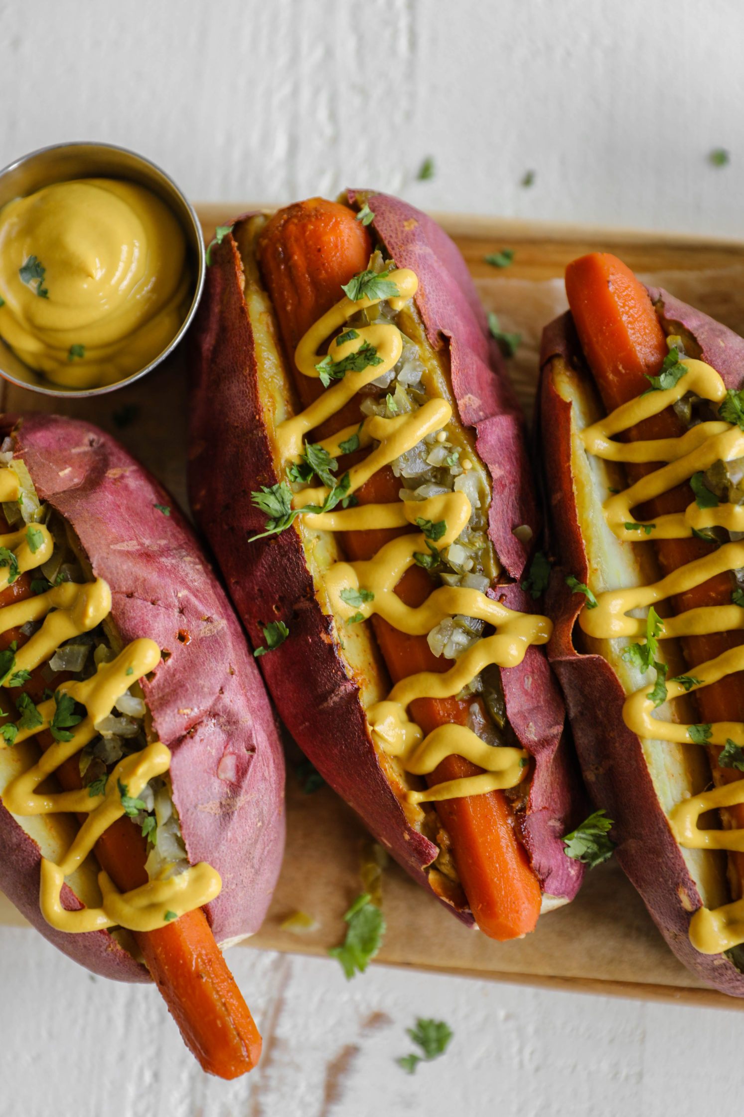 Carrot Hot Dogs with Japanese Yam Buns by Flora & Vino
