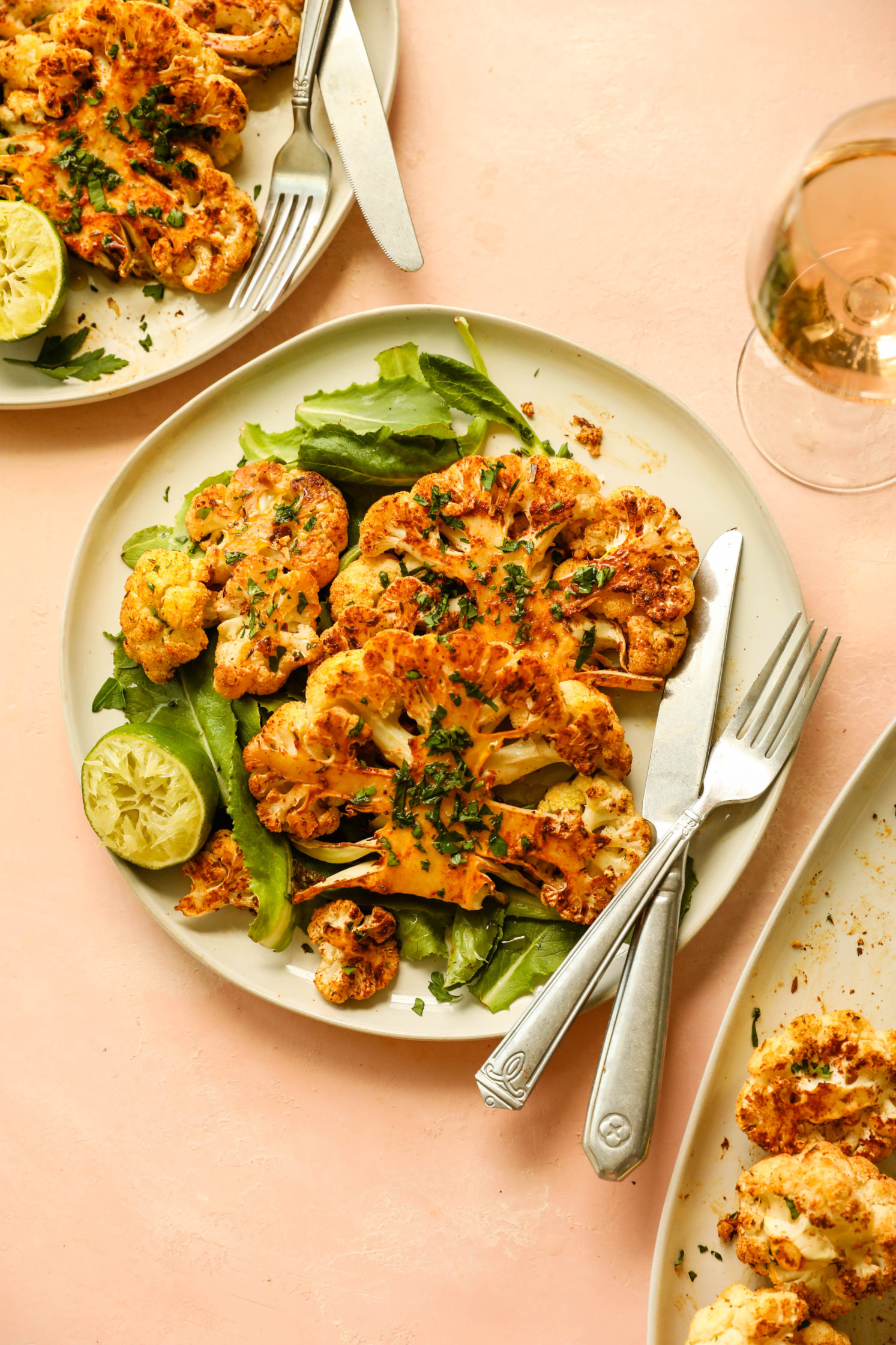 Jamaican Jerk Cauliflower Steaks & Rosé by Flora & Vino