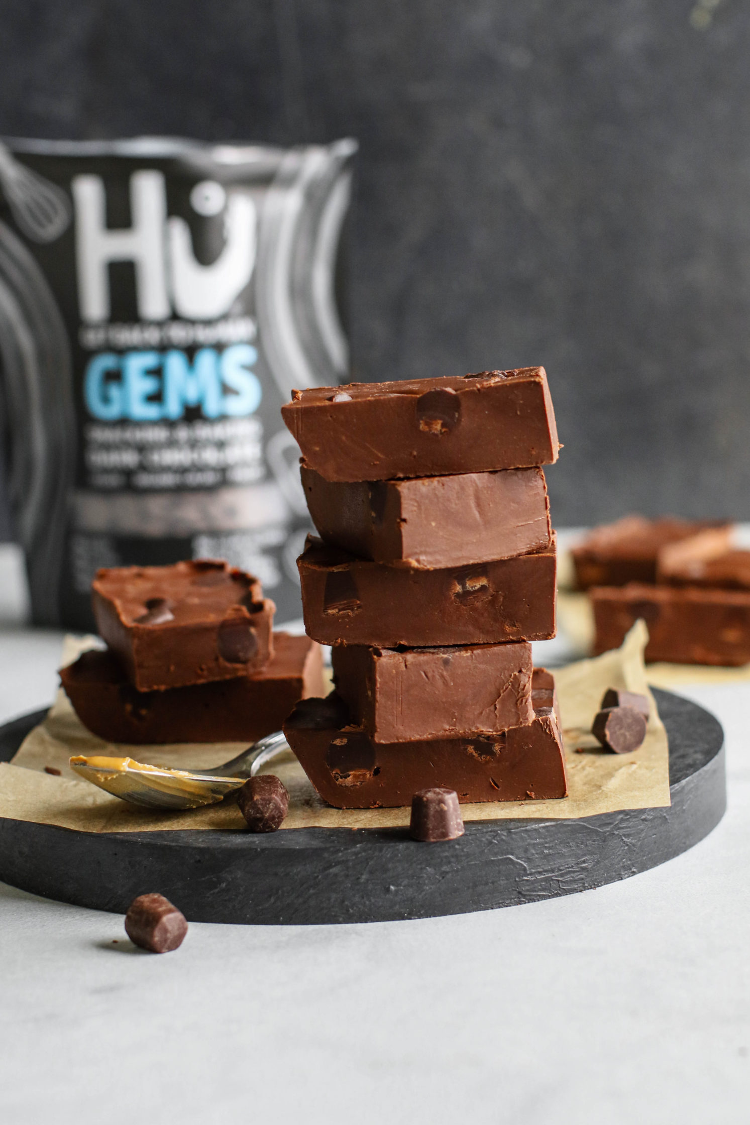 Paleo Cashew Butter Chocolate Chip Fudge by Flora & Vino