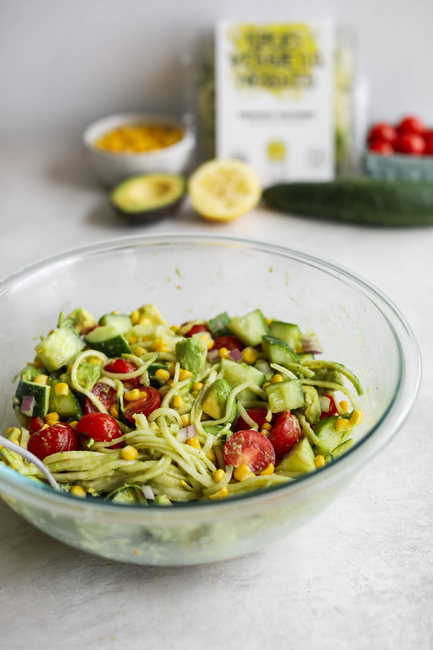Corn, Tomato, & Avocado Salad with Zoodles (Oil-Free) by Flora & Vino