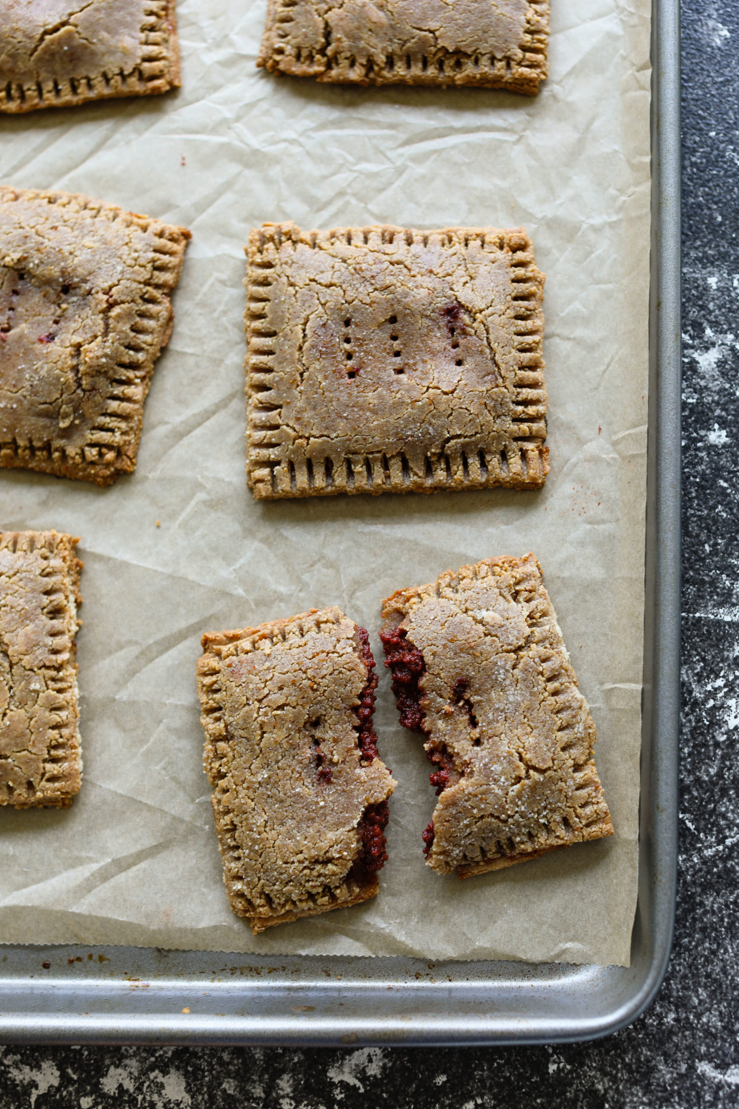 Cherry Almond Flour Pop-Tarts baked