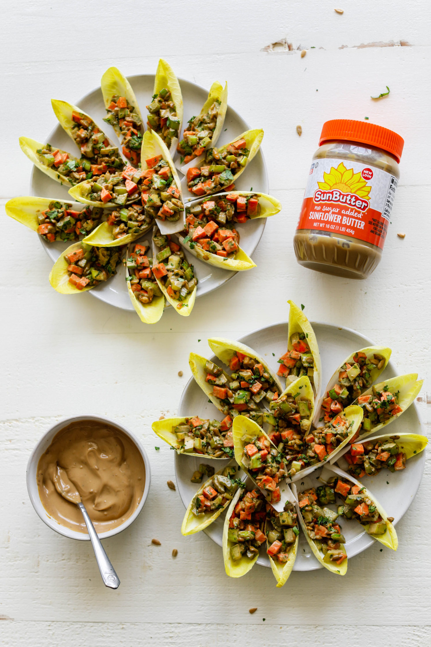 Endive Boats with SunButter Sauce by Flora & Vino
