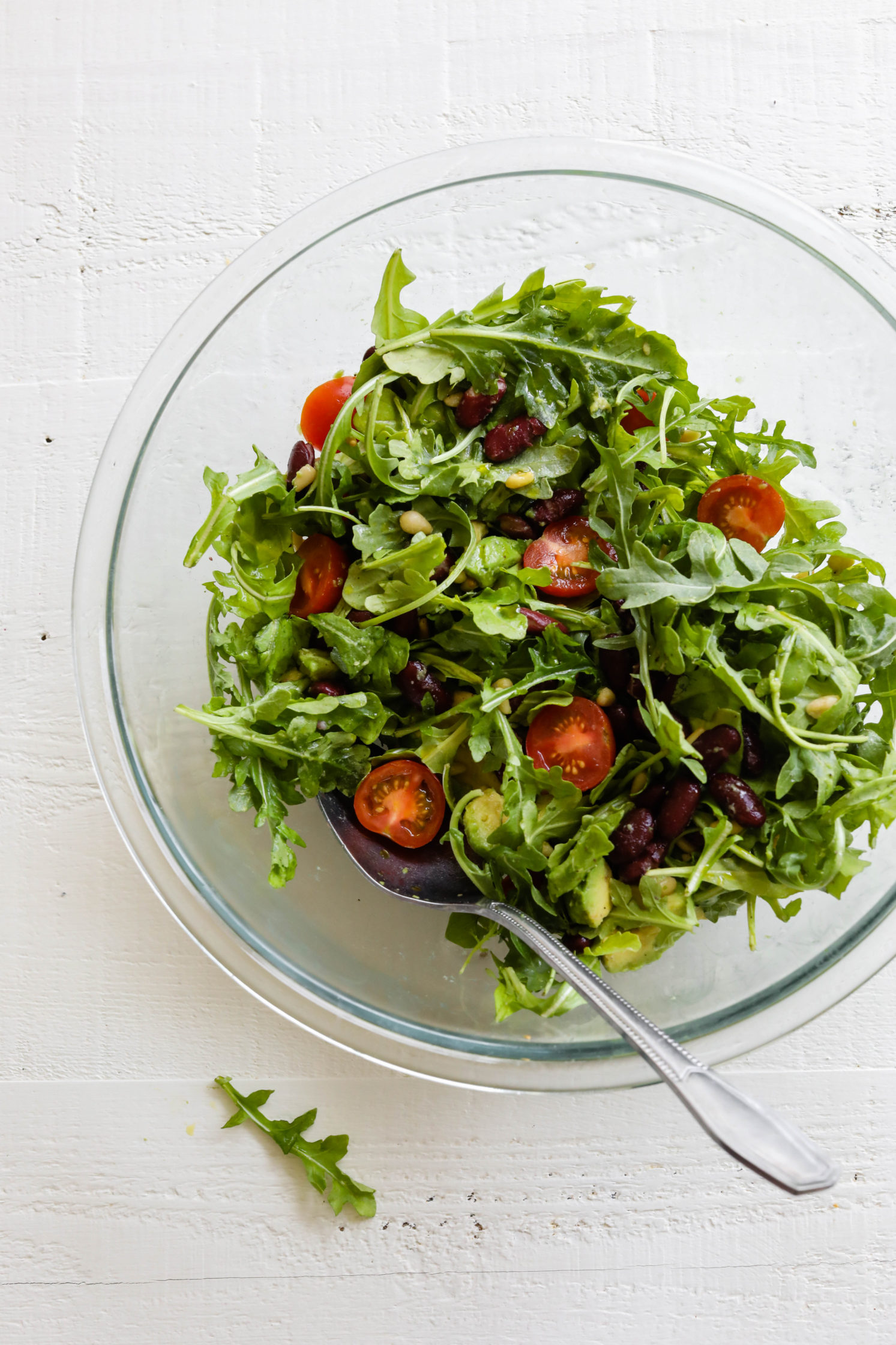 Kidney Bean Arugula Salad in mixing bowl