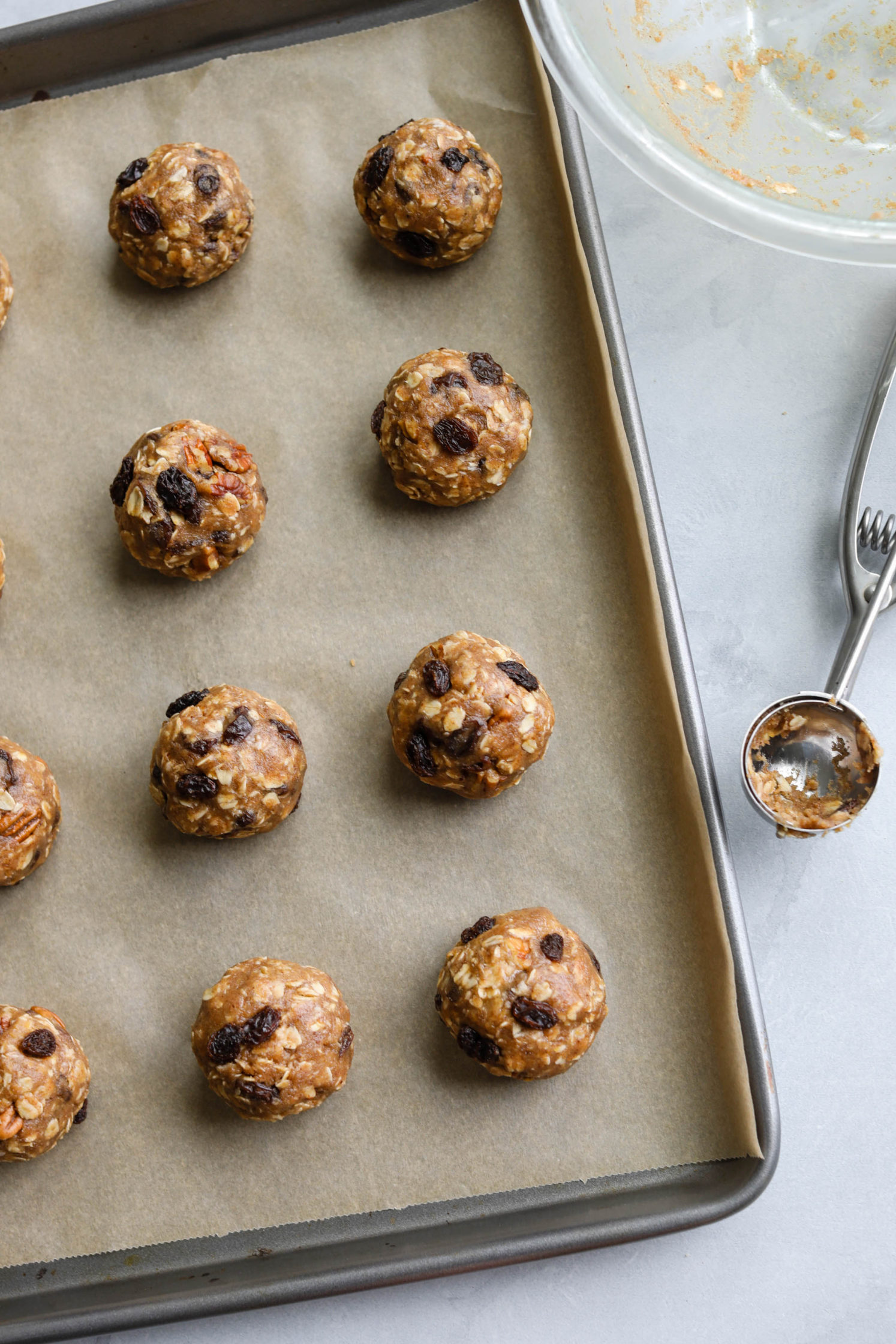Oatmeal Raisin Pecan Cookies (Oil-Free!) rolled into balls