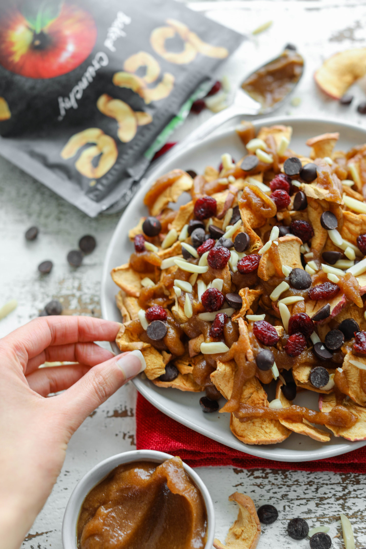 Apple Chip Nachos with Date Caramel by Flora & Vino