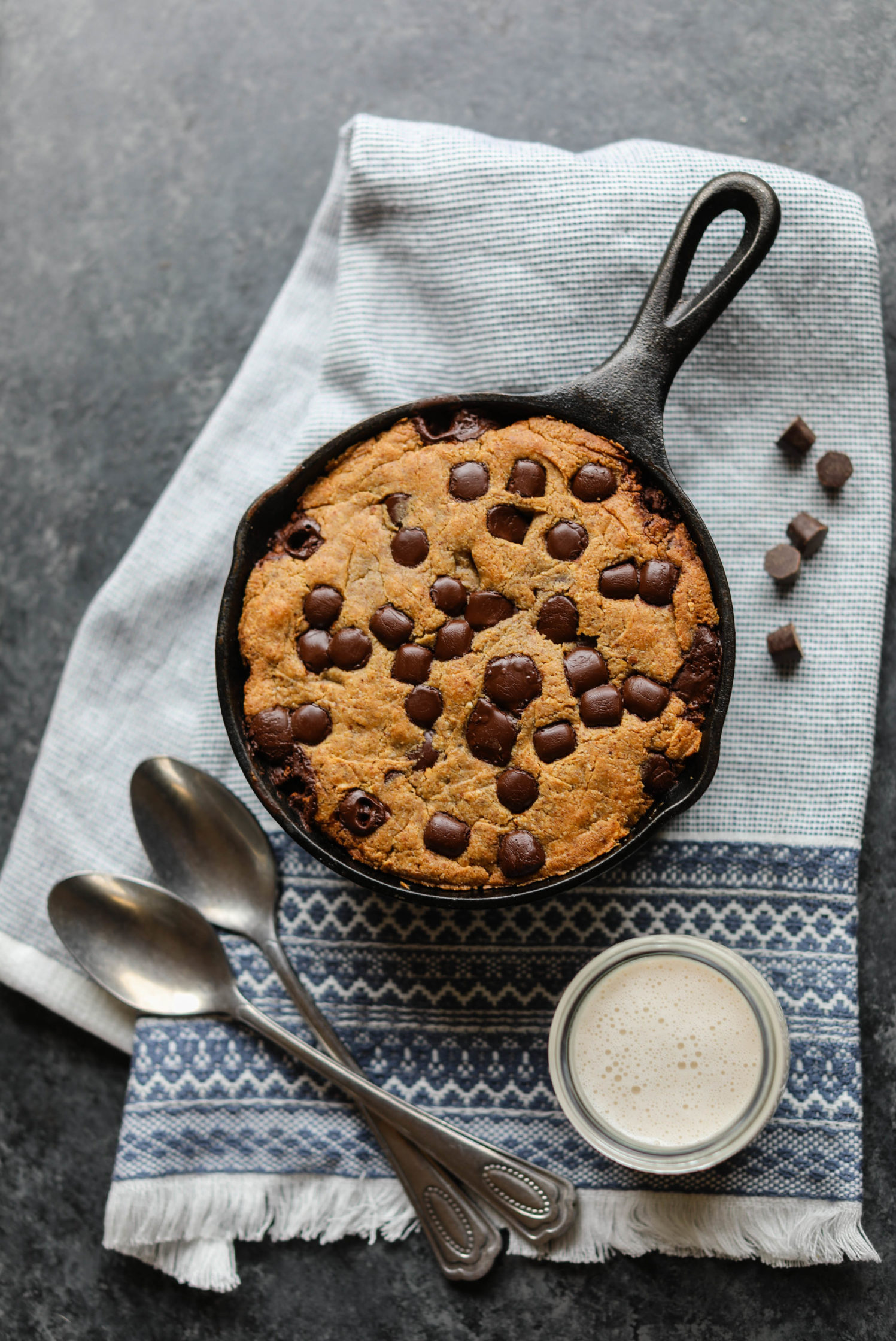 Chocolate Chip Almond Butter Skillet Cookie by Flora & Vino