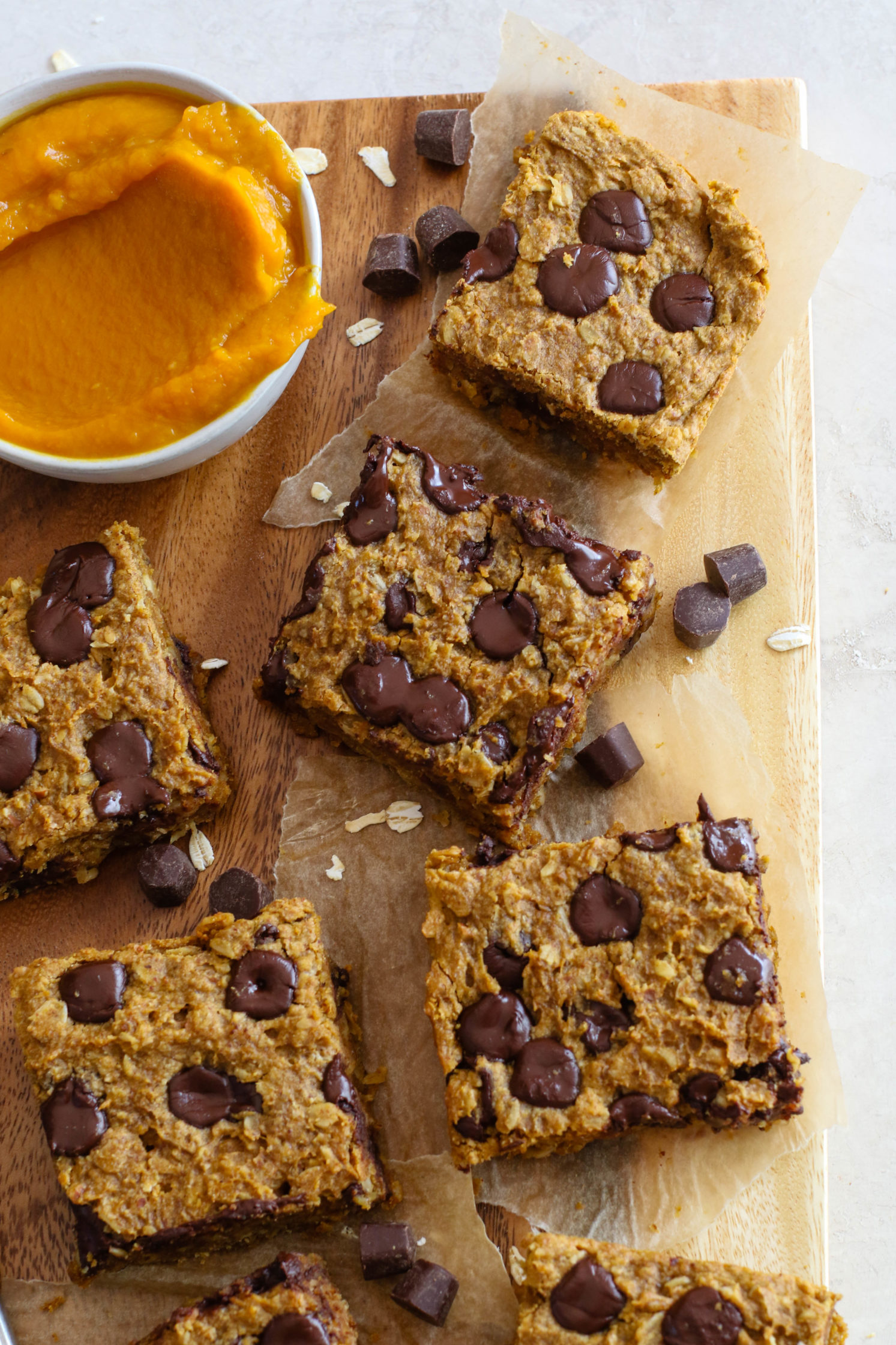 Pumpkin Chocolate Chip Breakfast Bars by Flora & Vino