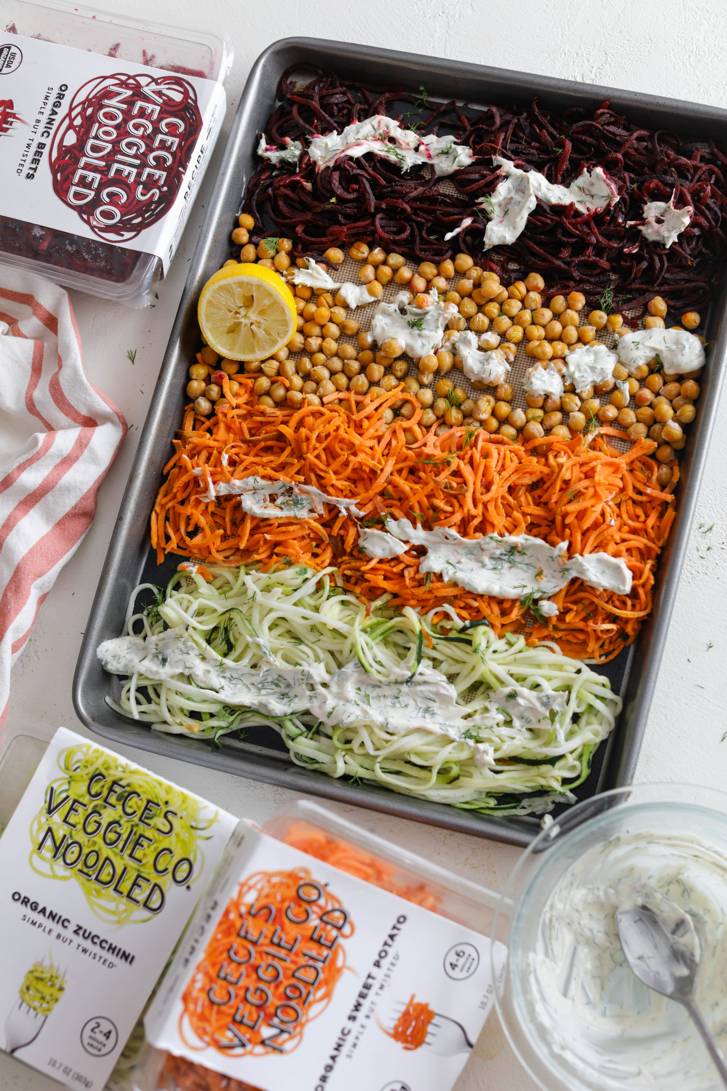Rainbow Veggie Noodle Bake with Yogurt Dill Tahini by Flora & Vino