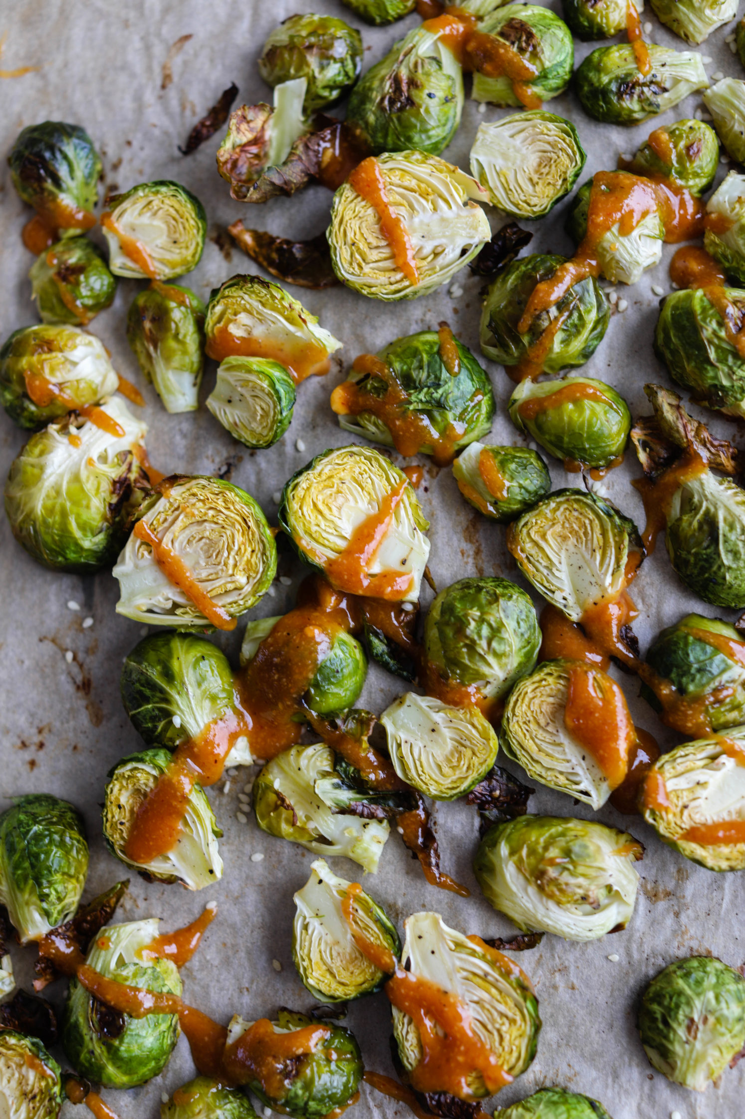 Roasted Brussels Sprouts with Spicy Hazelnut Butter Sauce by Flora & Vino