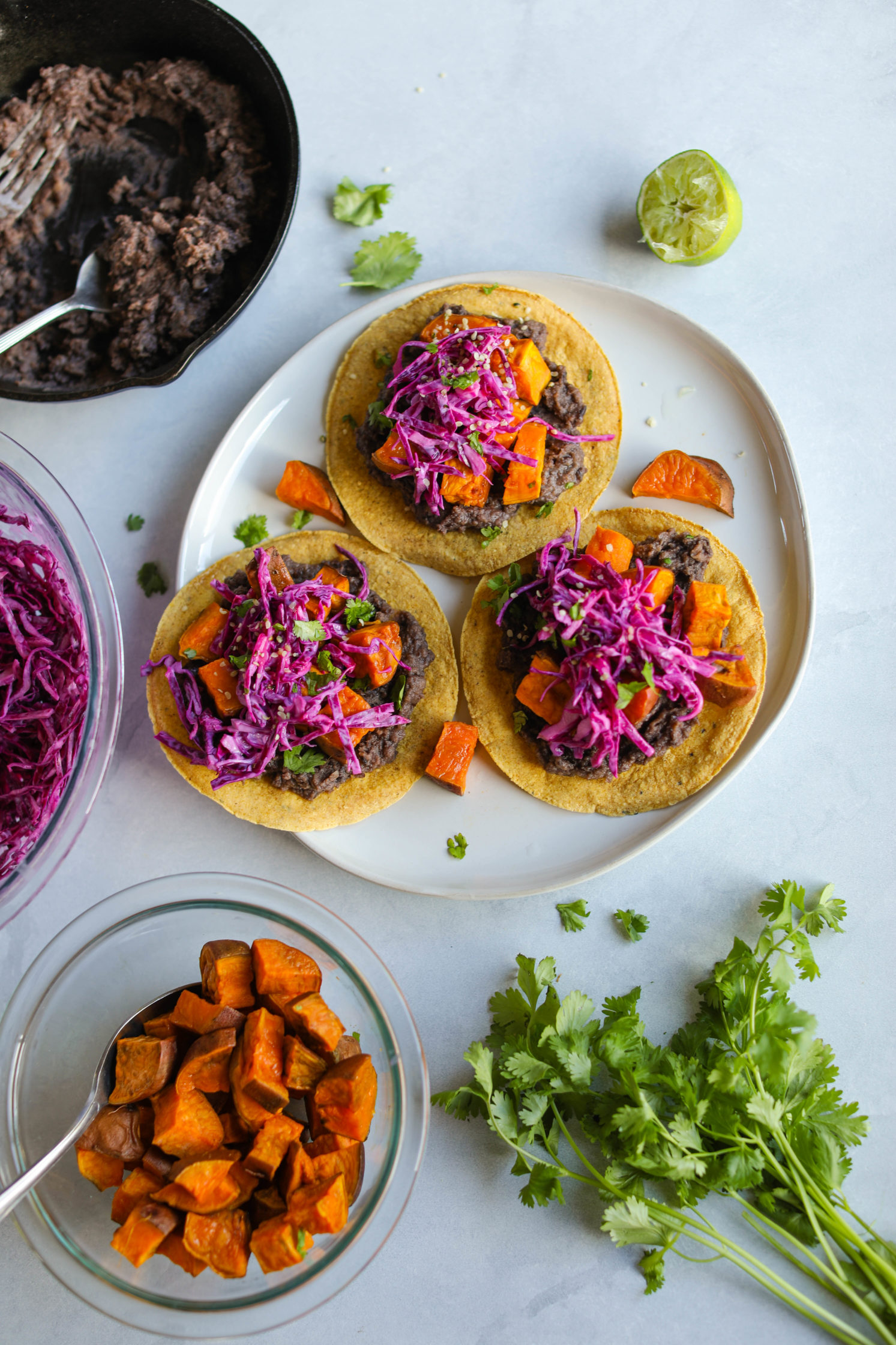Sweet Potato & Black Bean Tostadas by Flora & Vino .