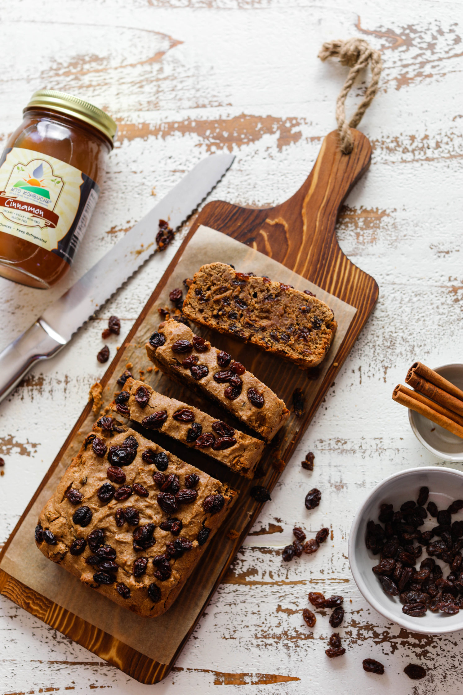 Vegan & Gluten-Free Cinnamon Raisin Bread by Flora & Vino