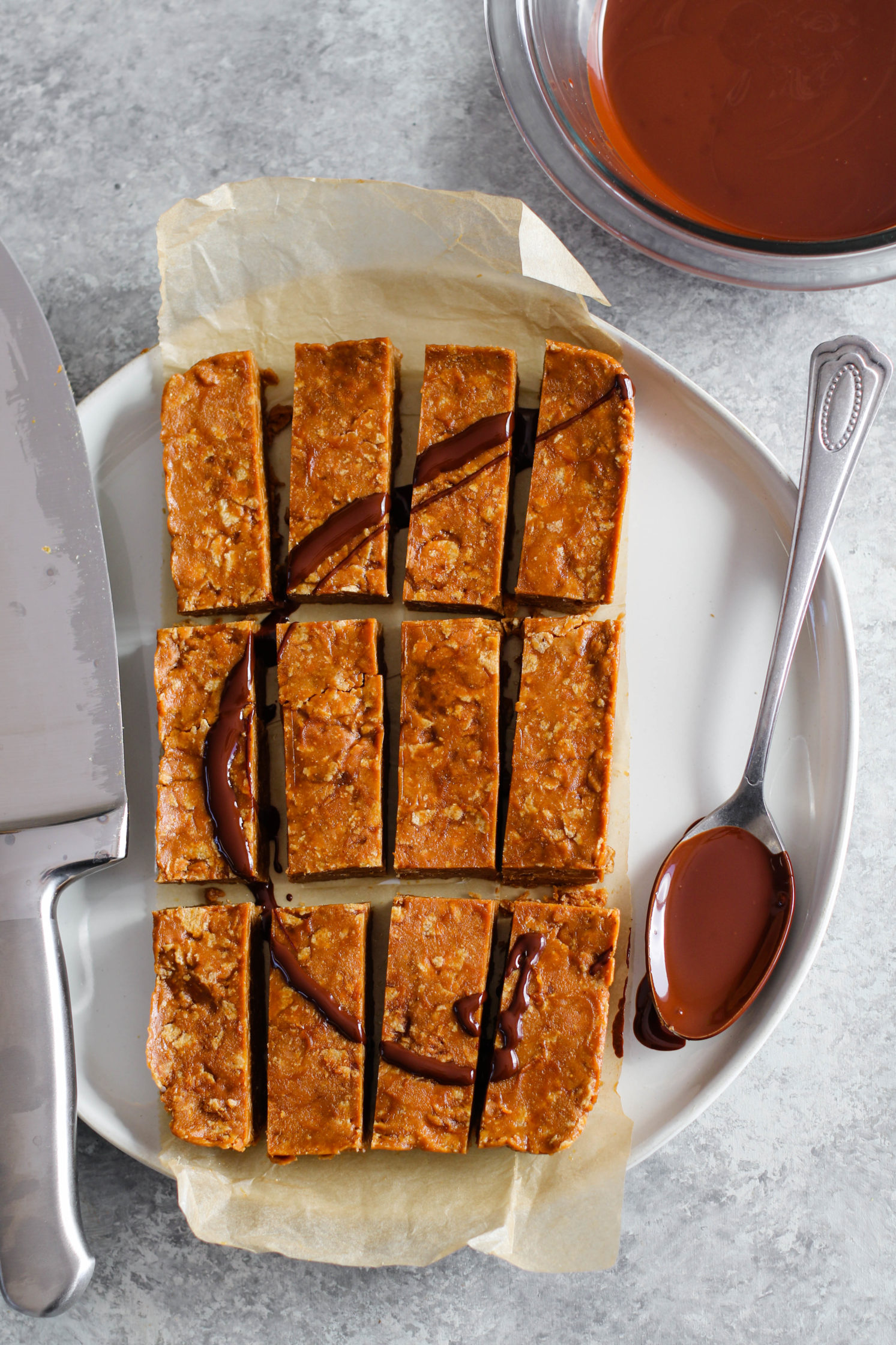 Vegan Peanut Butter Butterfingers drizzled with chocolate