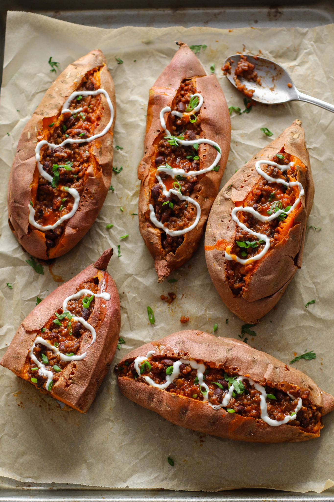 Chili Stuffed Sweet Potatoes by Flora & Vino