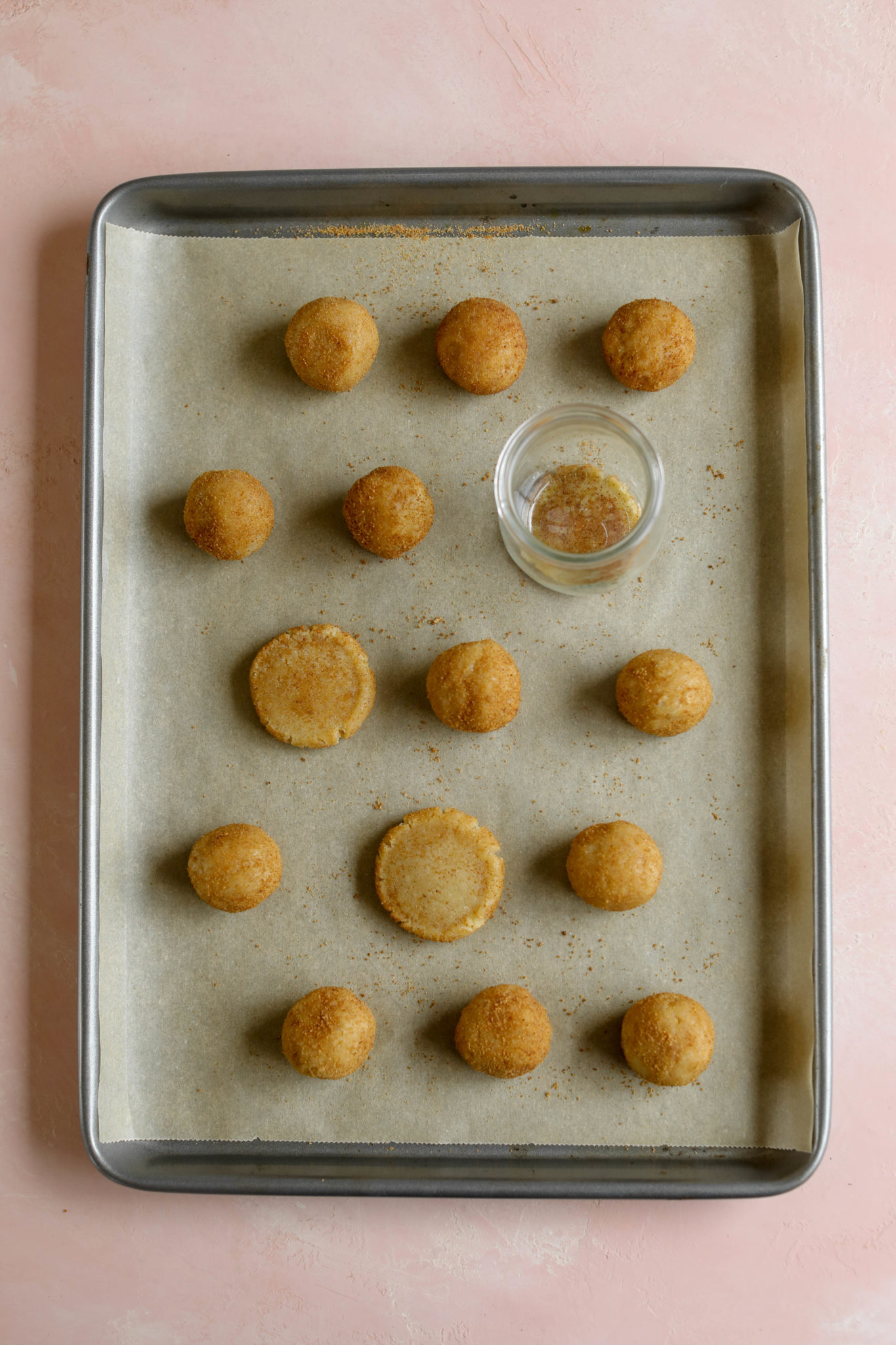 Almond Flour Cashew Butter Snickerdoodles on cookie sheet