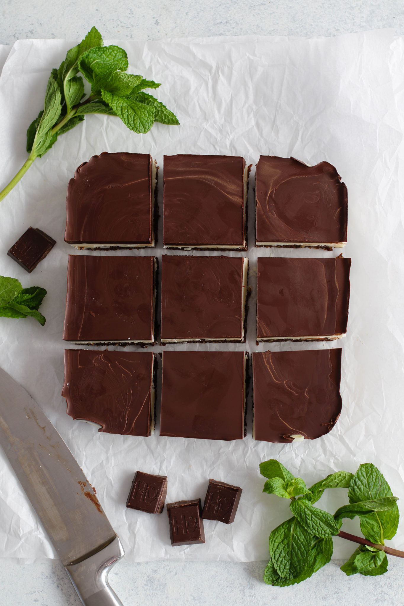 Mint Dark Chocolate Coconut Layer Bars sliced