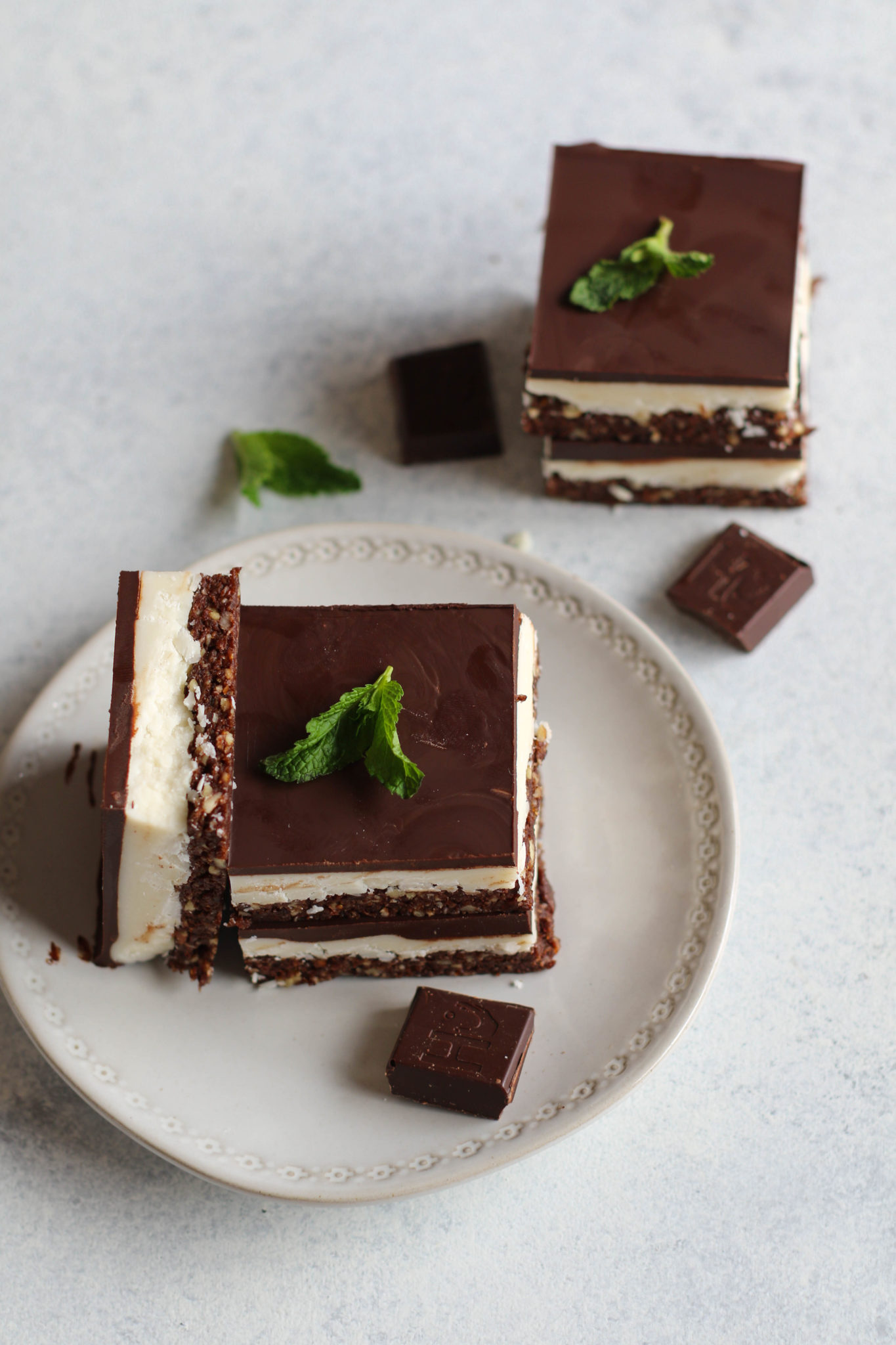 Mint Dark Chocolate Coconut Layer Bars by Flora & Vino
