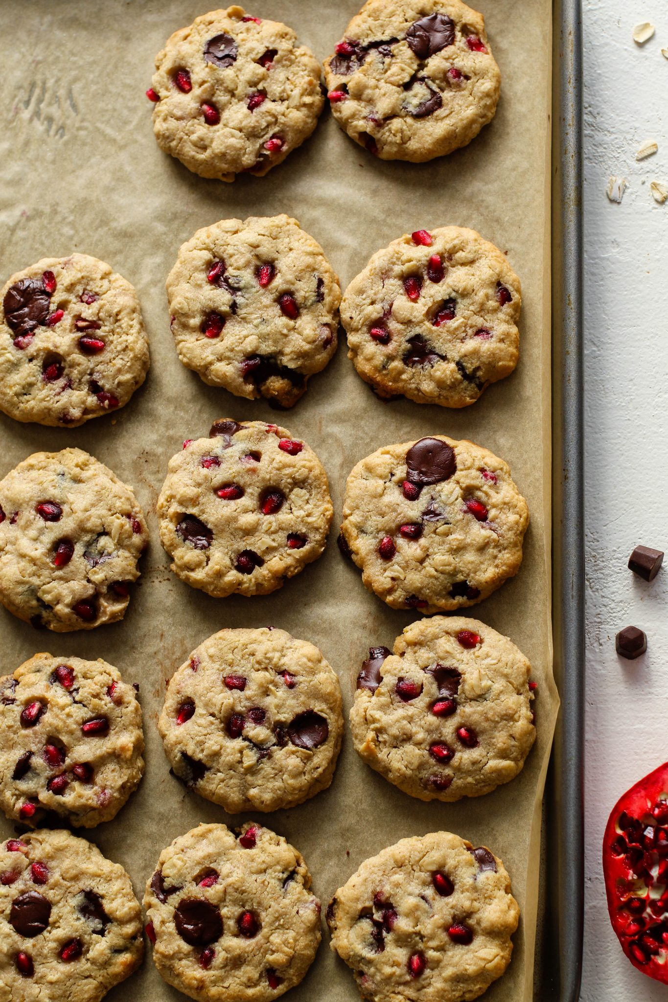 Pomegranate Oatmeal Chocolate Chip Cookies by Flora & Vino