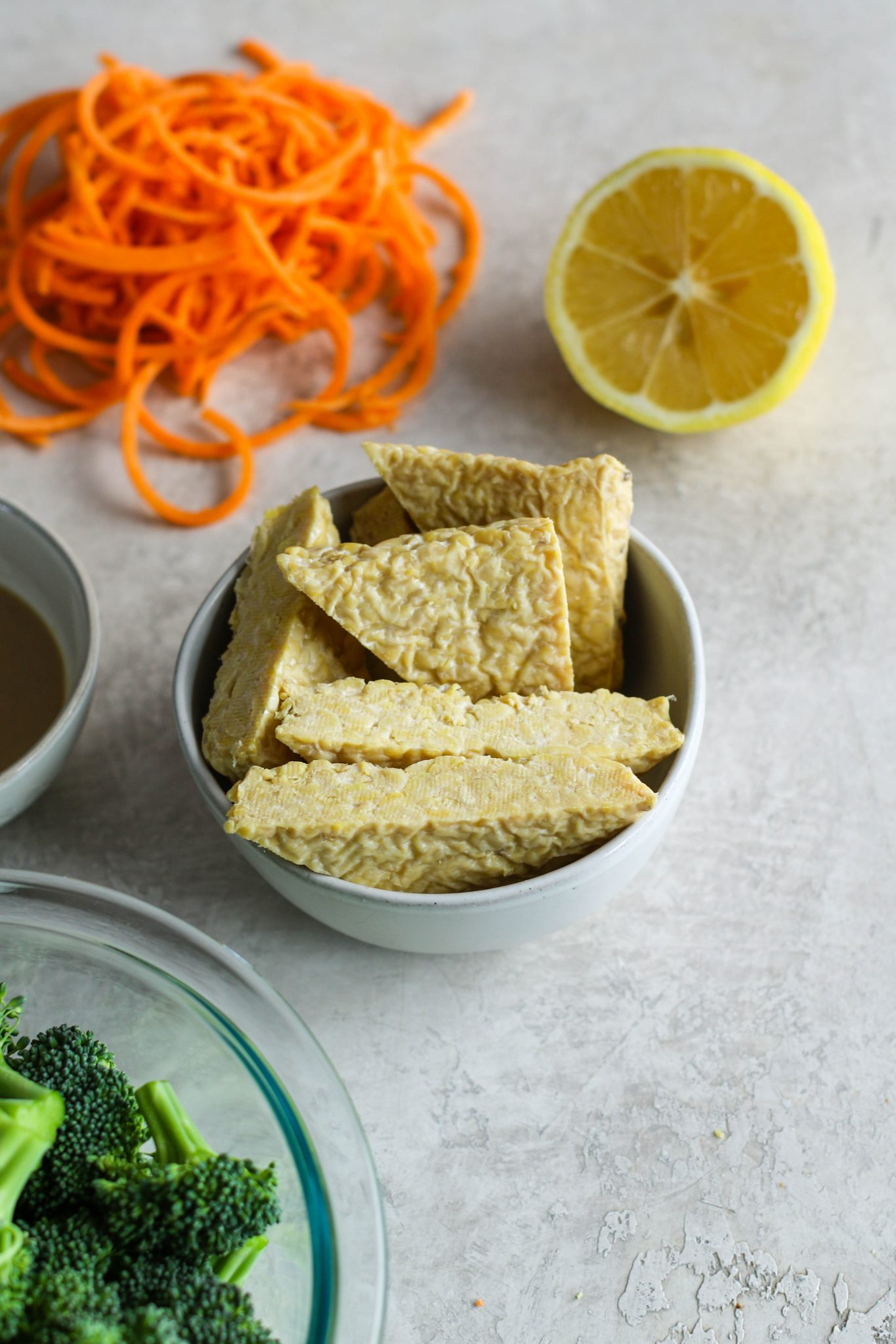 Tahini Tempeh, Sweet Potato Noodle, & Broccoli Bowl ingredients