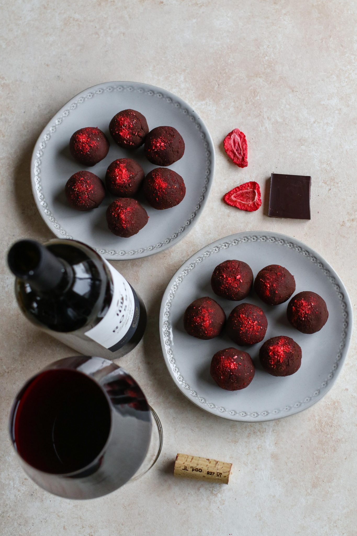 3-Ingredient Chocolate Strawberry Truffles by Flora & Vino