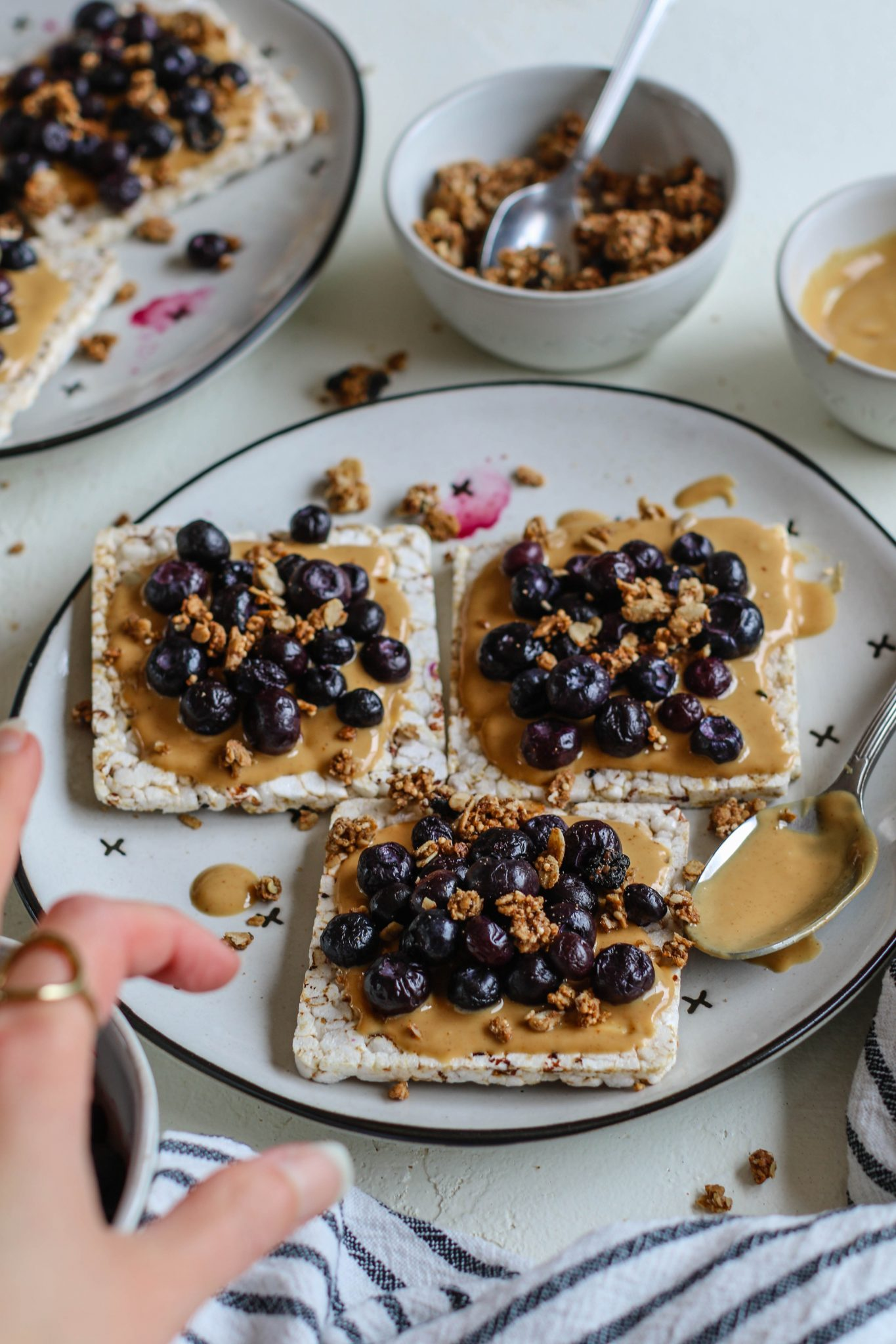 Peanut Butter Blueberry Rice Cake Toasts by Flora & Vino