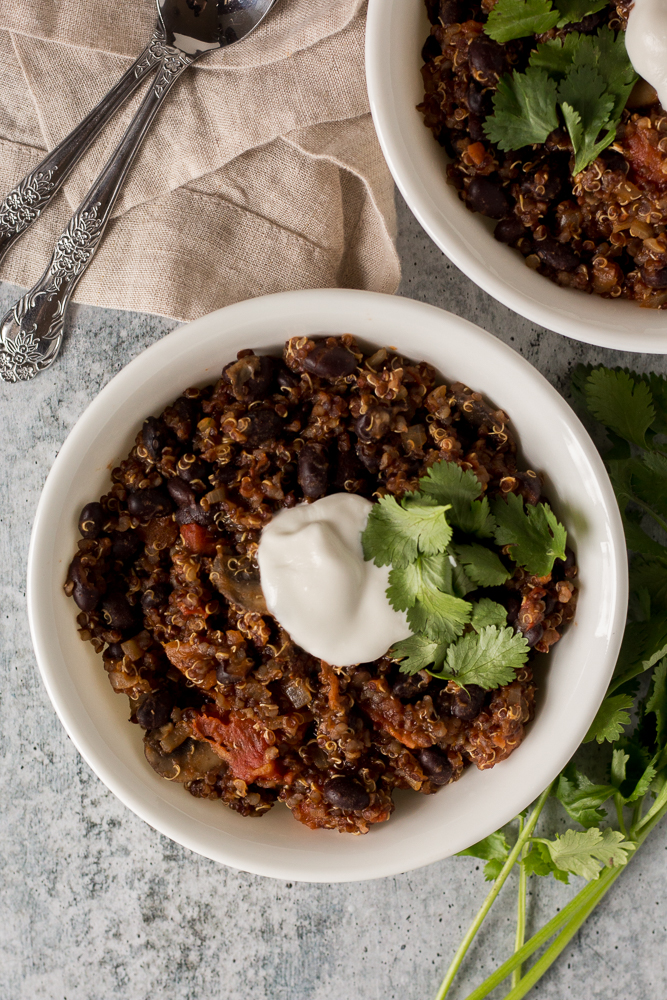 Black Bean Quinoa Chili by Flora & Vino