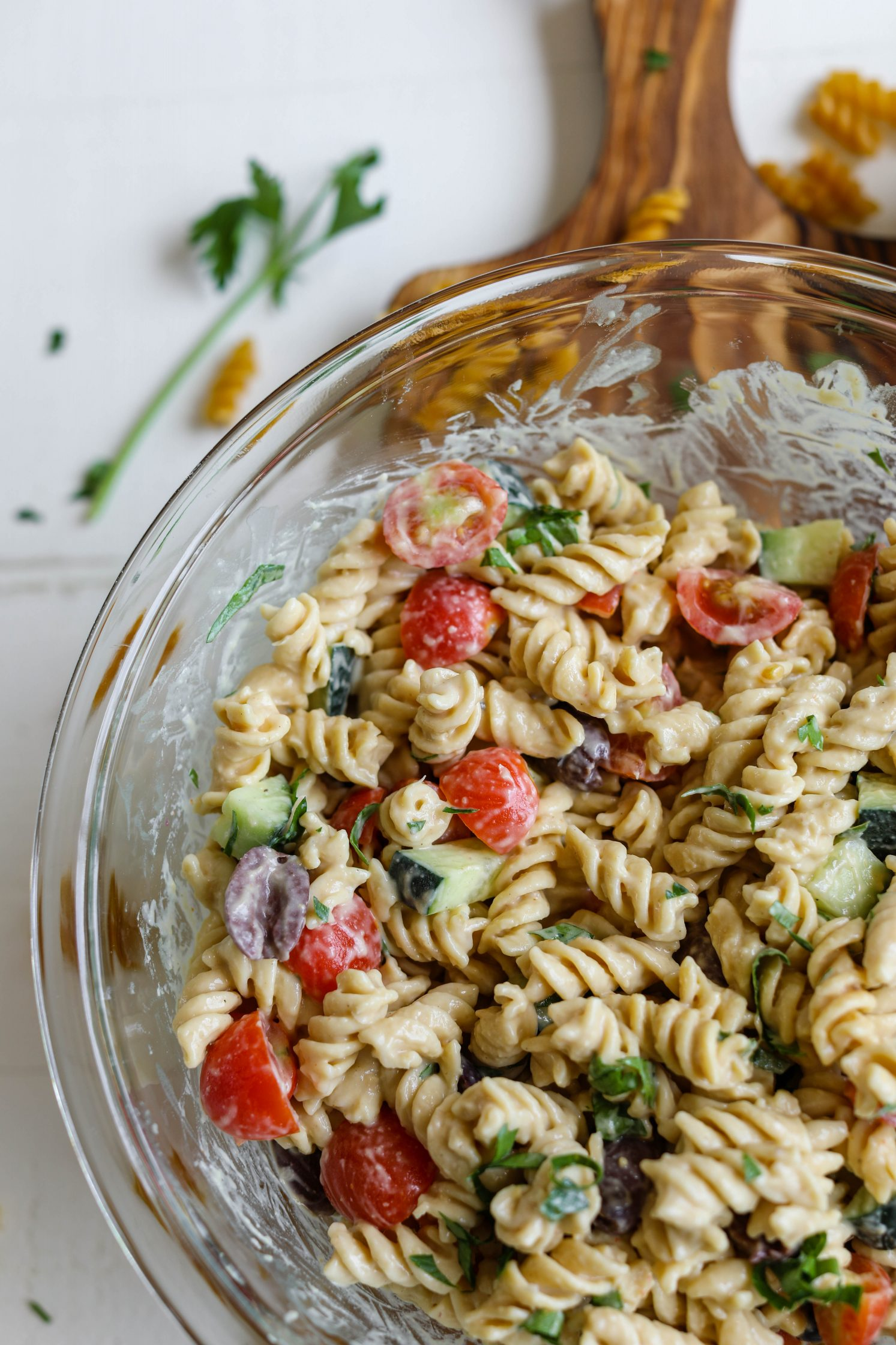 1-Bowl Hummus Pasta Salad process