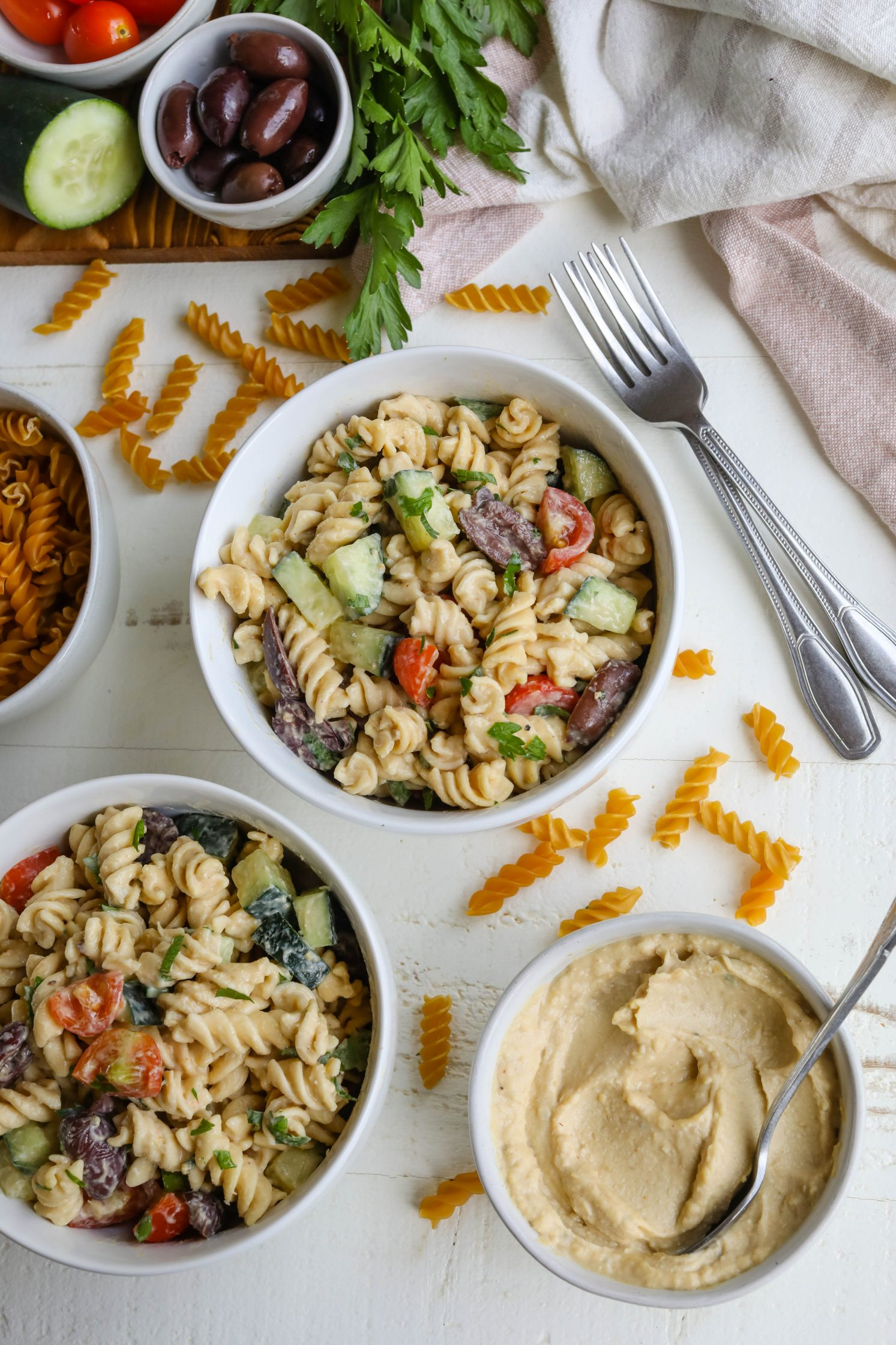 Easy Hummus Pasta Salad by Flora & Vino