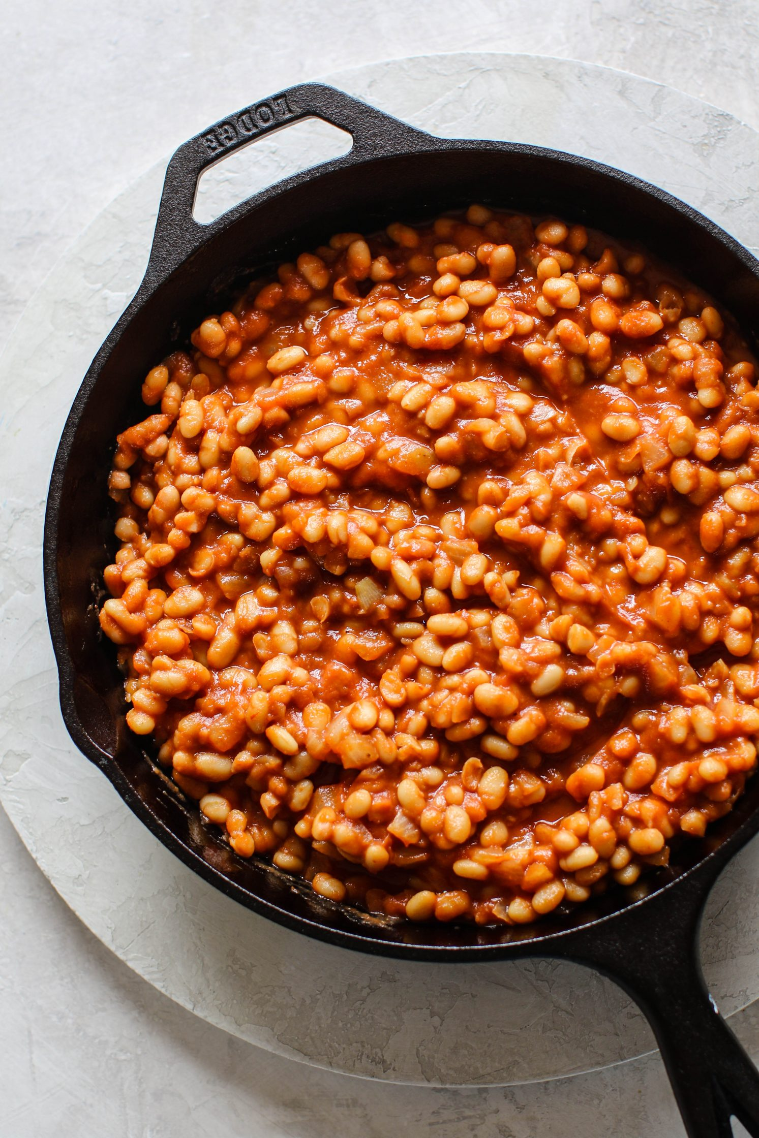 Vegan Maple Baked Beans in skillet