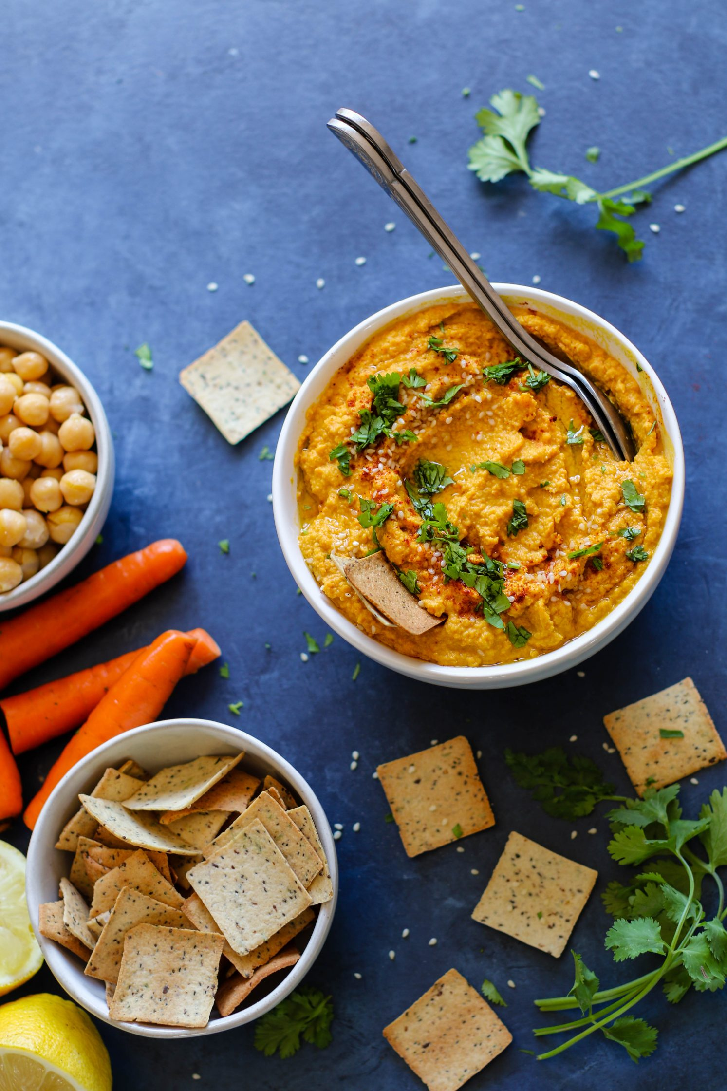 Raw Carrot Hummus by Flora & Vino