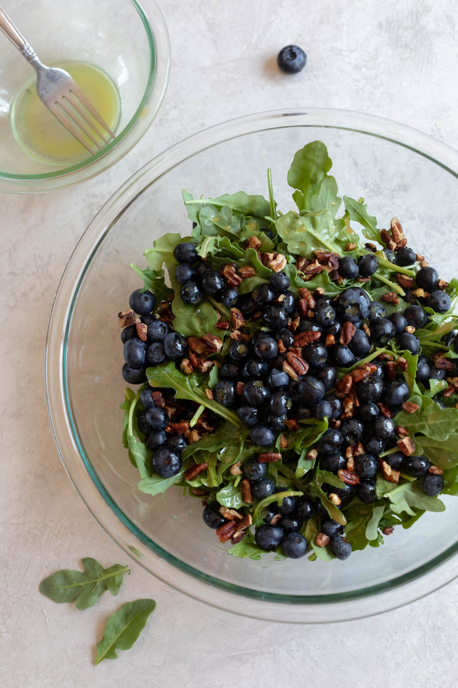 Blueberry Pecan Arugula Salad process shot