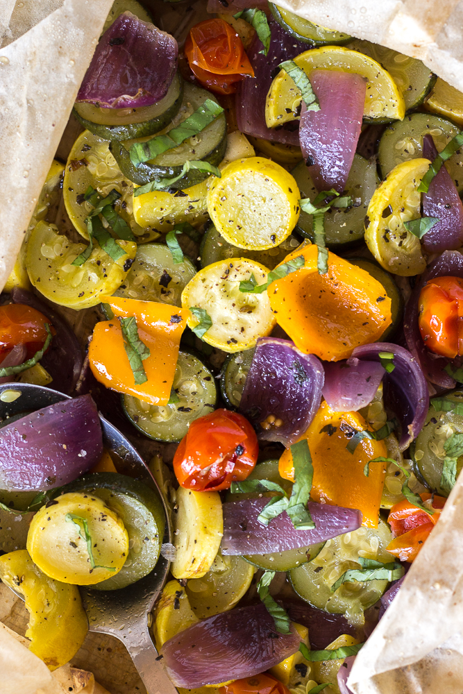 Oven Roasted Summer Vegetables by Flora & Vino