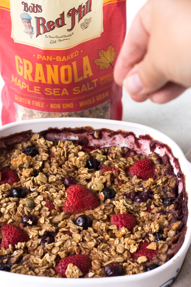 Berry Baked Oatmeal with Bob's Red Mill Granola by Flora & Vino