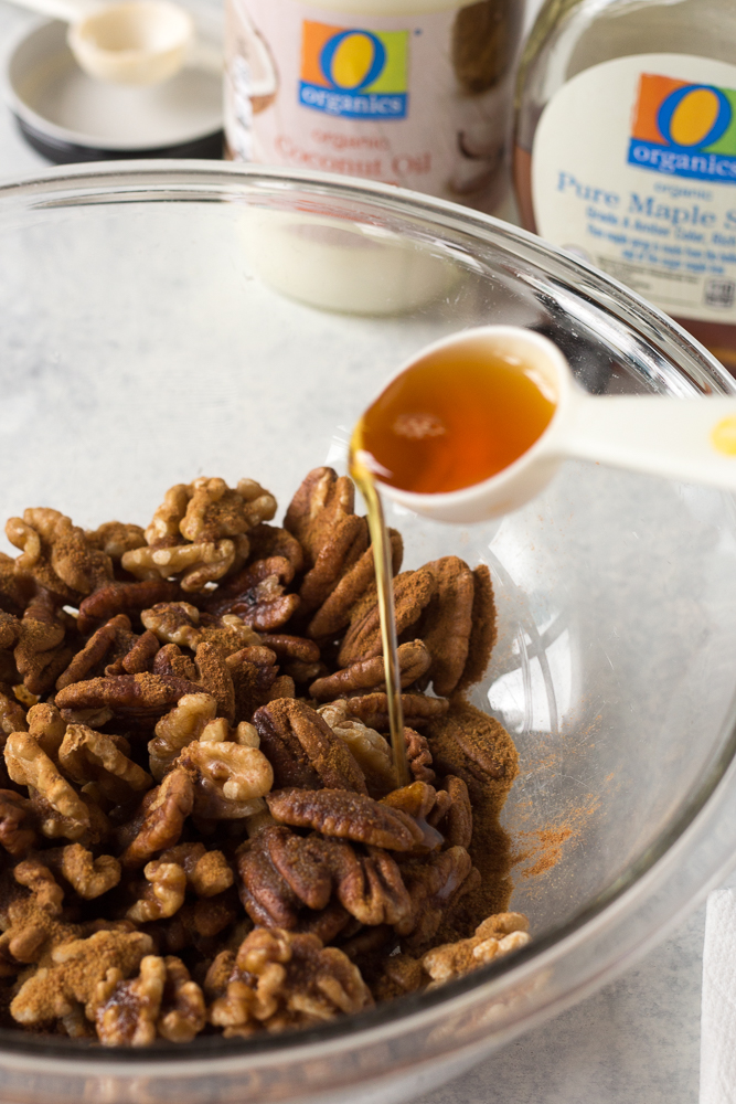 Easy Maple Spiced Nuts process shot