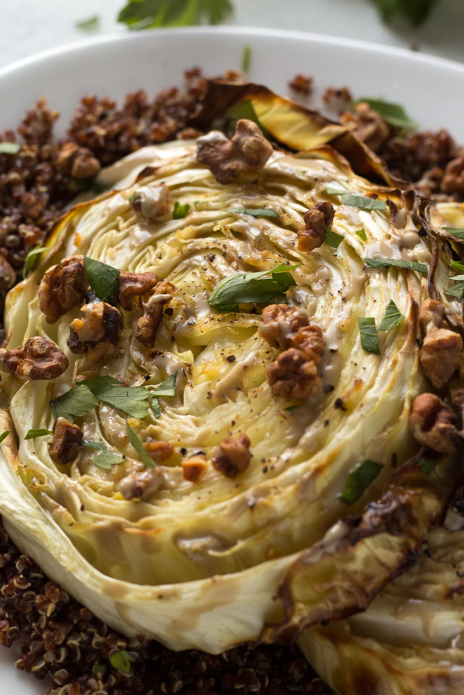 Roasted Cabbage Steaks with Quinoa & Tahini by Flora & Vino