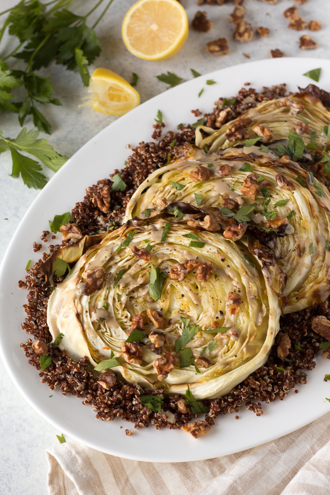 Roasted Cabbage Steaks with Quinoa & Tahini by Flora and Vino