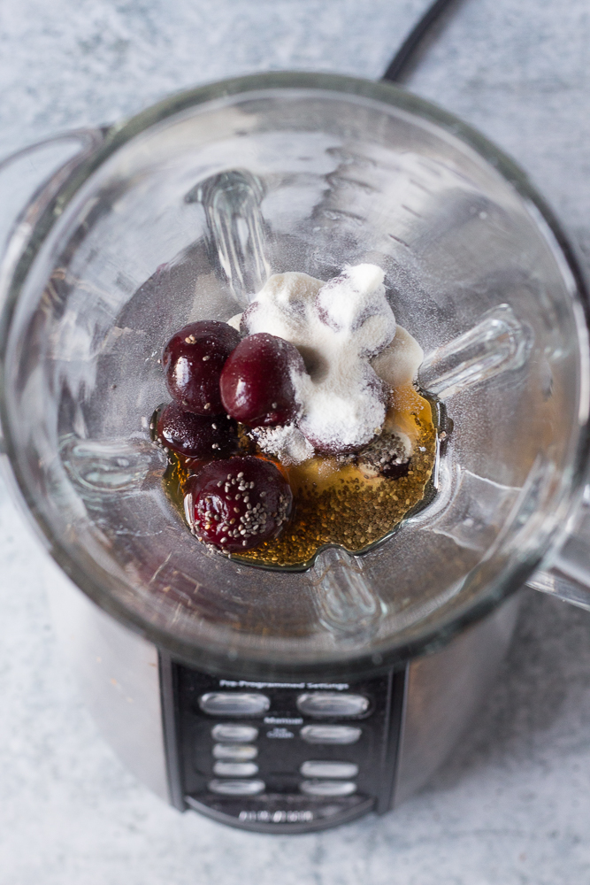 Cherry Chia Pudding process shot by Flora & Vino
