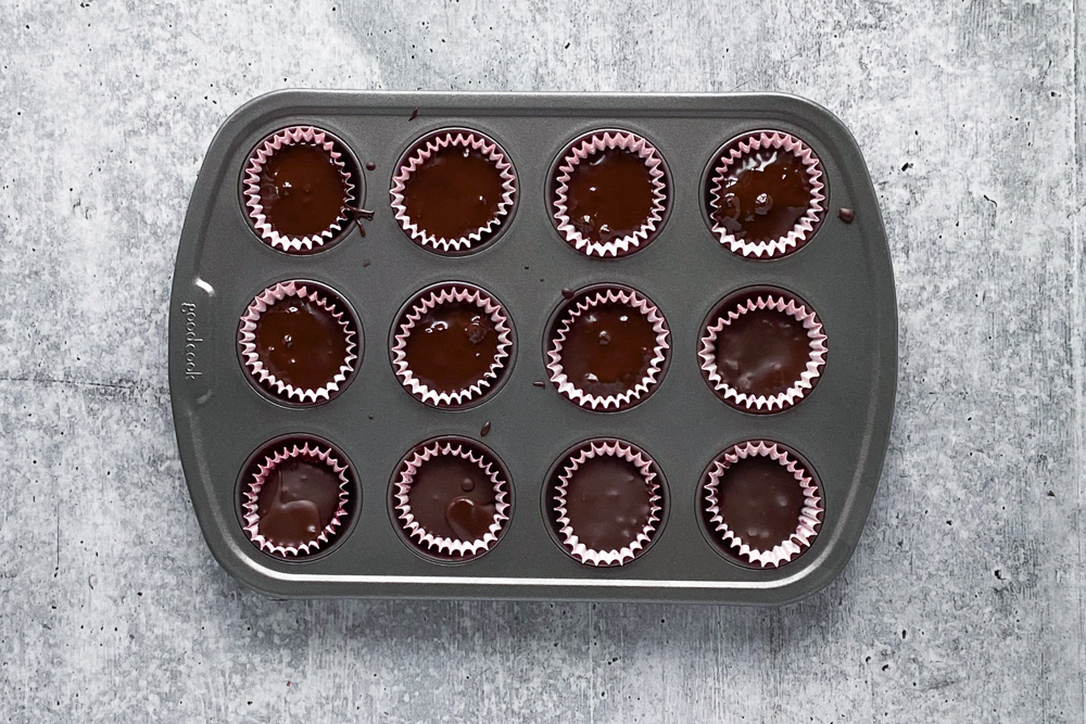 Chocolate Covered Raspberry Chia Cups process shot by Flora & Vino