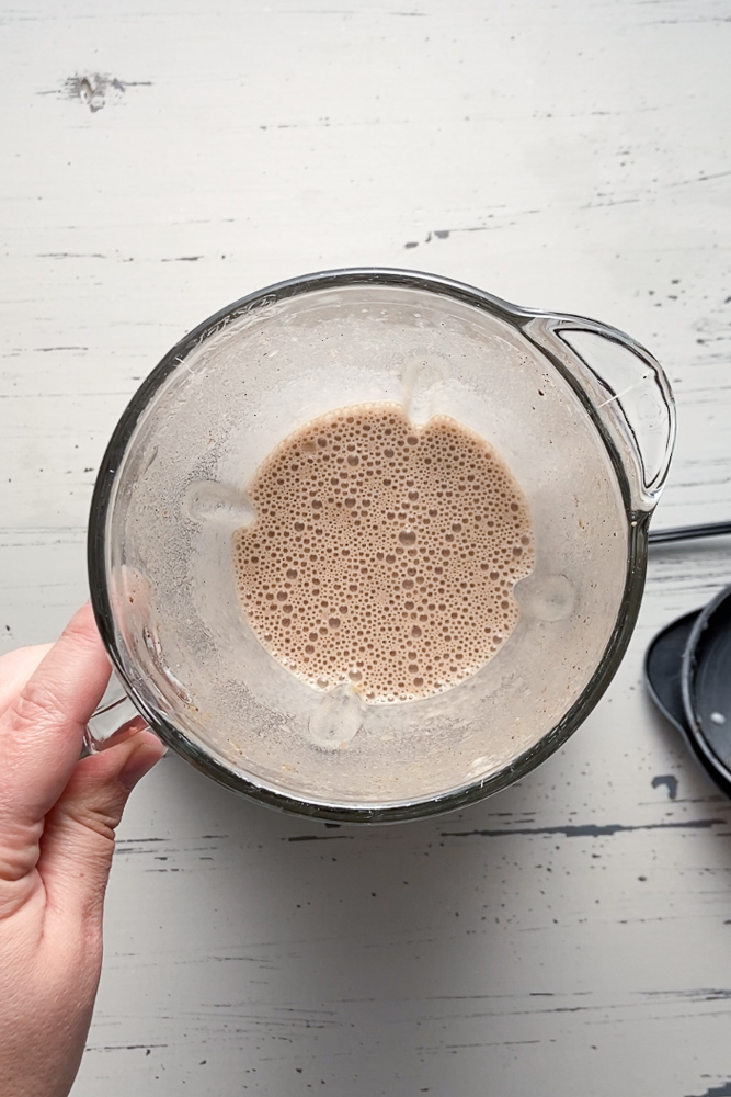 SunButter Cinnamon Smoothie prep photo by Flora & Vino