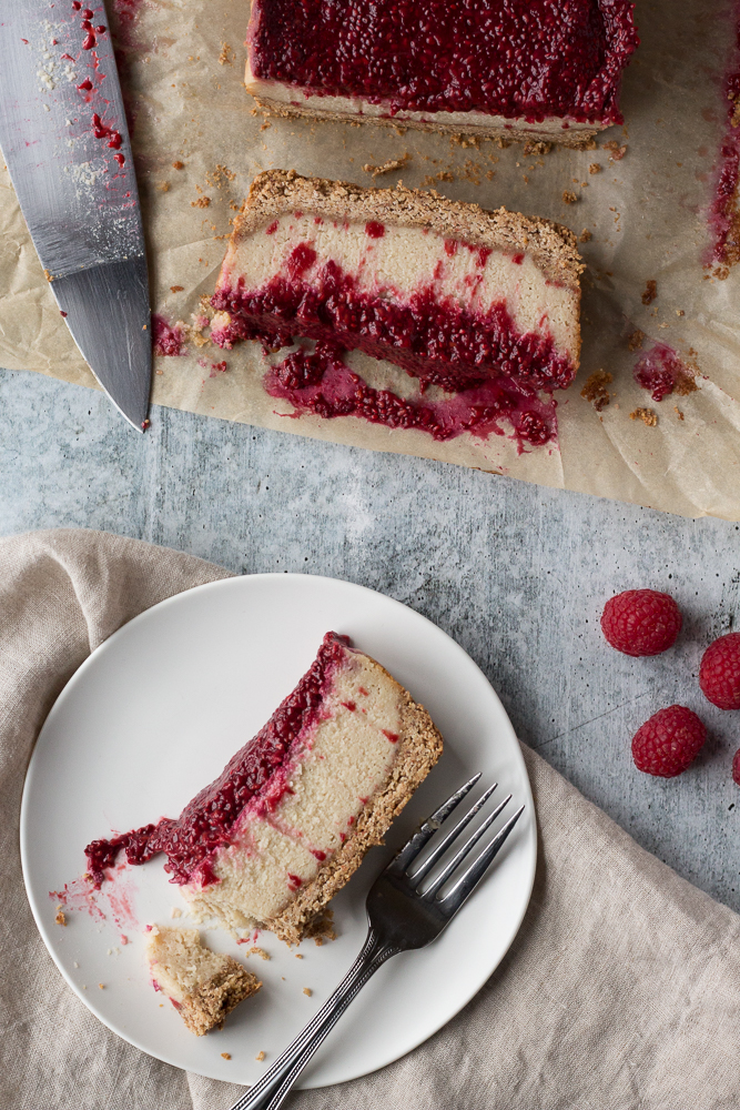 Vegan Raspberry Cheesecake by Flora & Vino