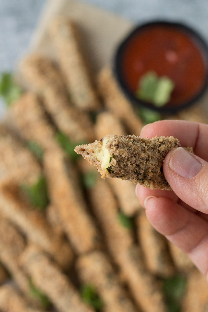 Cracker Crusted Zucchini Fries by Flora & Vino
