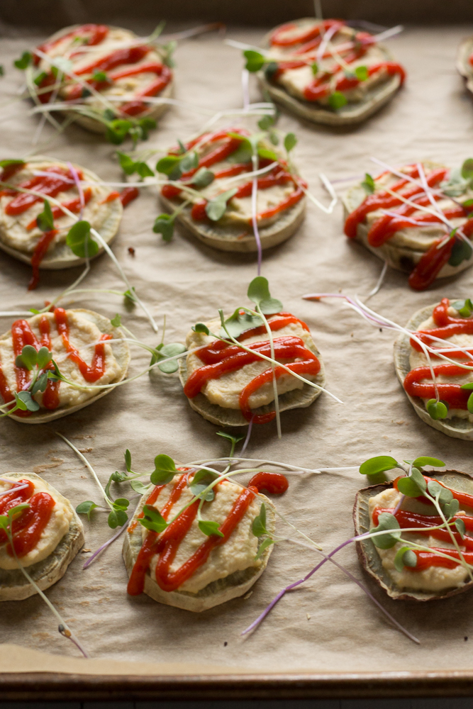 Japanese Yam Rounds with Hummus & Sriracha by Flora & Vino