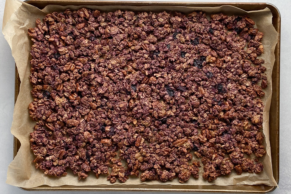 Triple Berry Granola (Oil-Free!) process shot by Flora & Vino